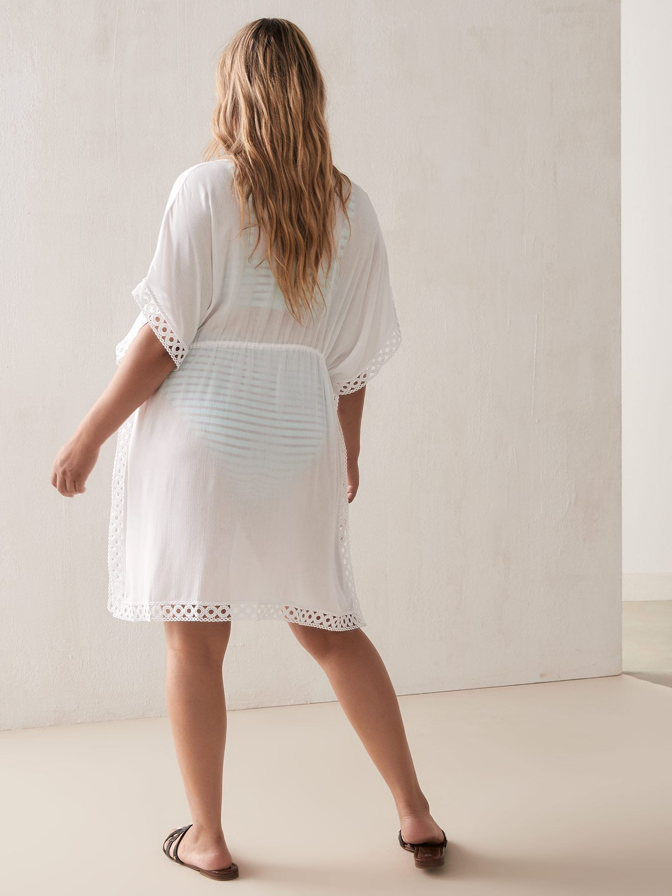 Solid Beach Cover Up with Crochet Trim - Addition Elle