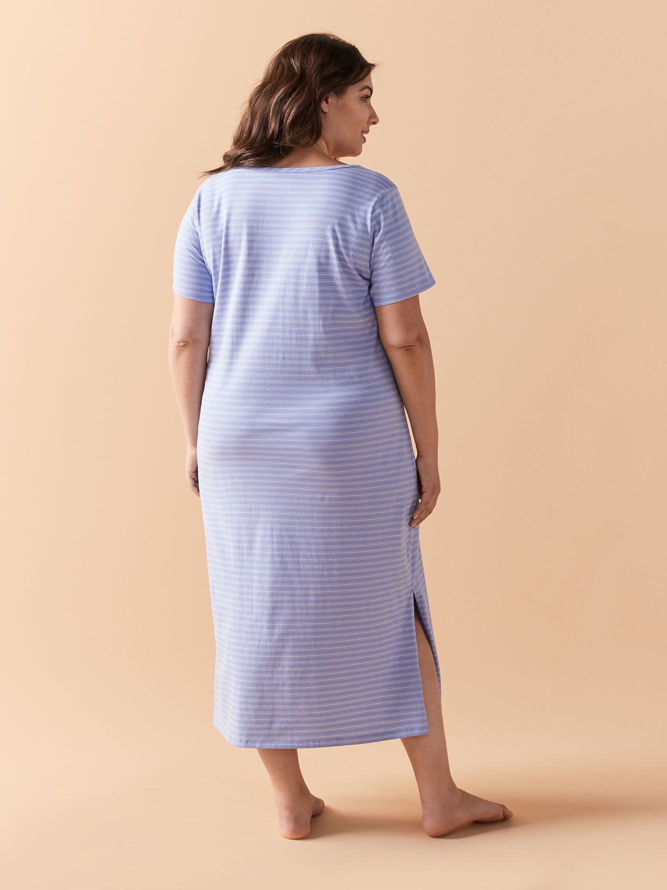 Striped Short Sleeve Cotton Sleepshirt - Addition Elle