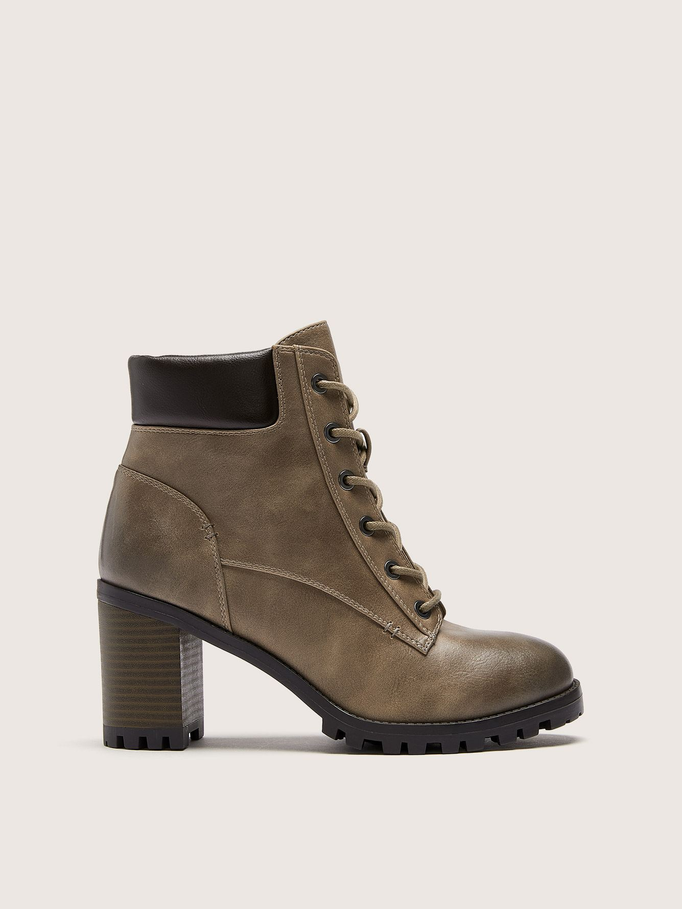 Wide Lace-Up Combat Booties - Addition Elle