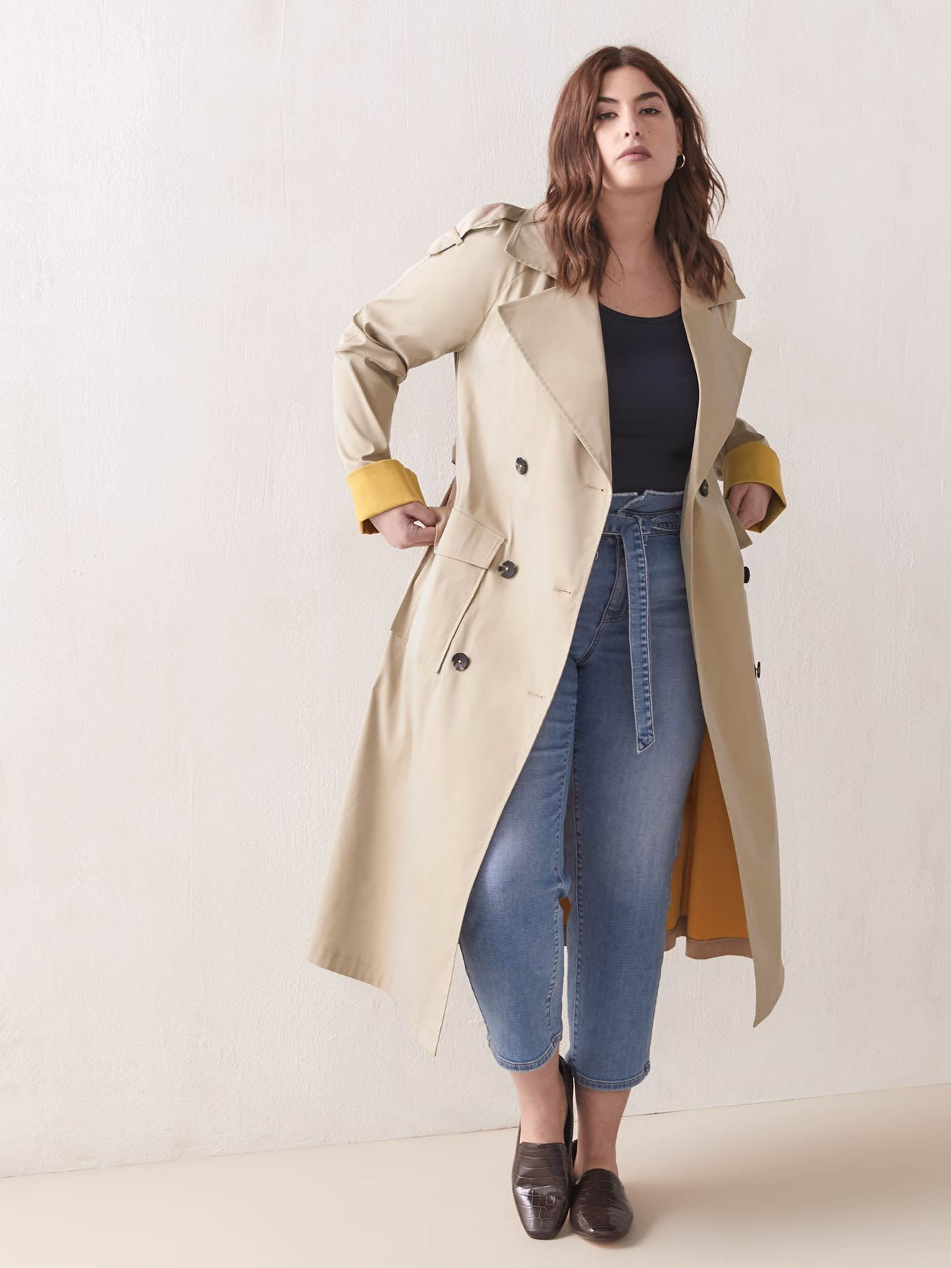 Bicolored Double-Breasted Trench Coat - Addition Elle