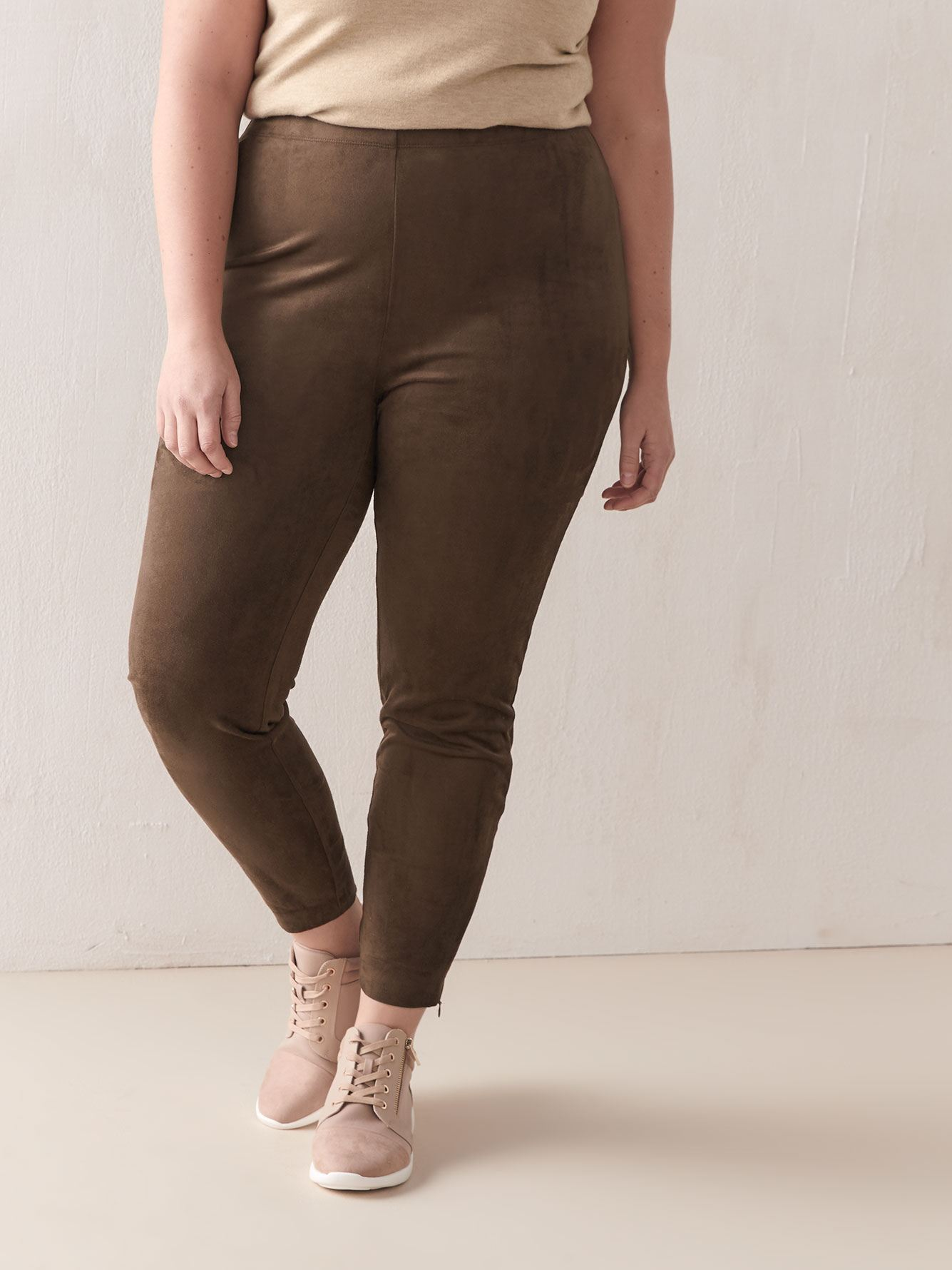 Stretch Faux Suede Leggings - Addition Elle