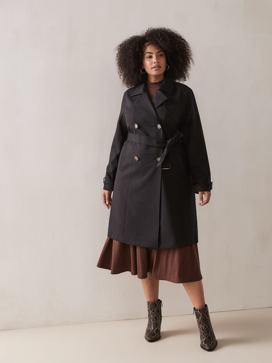 3f29bf6df Black Trench Coat with Horn Buckles