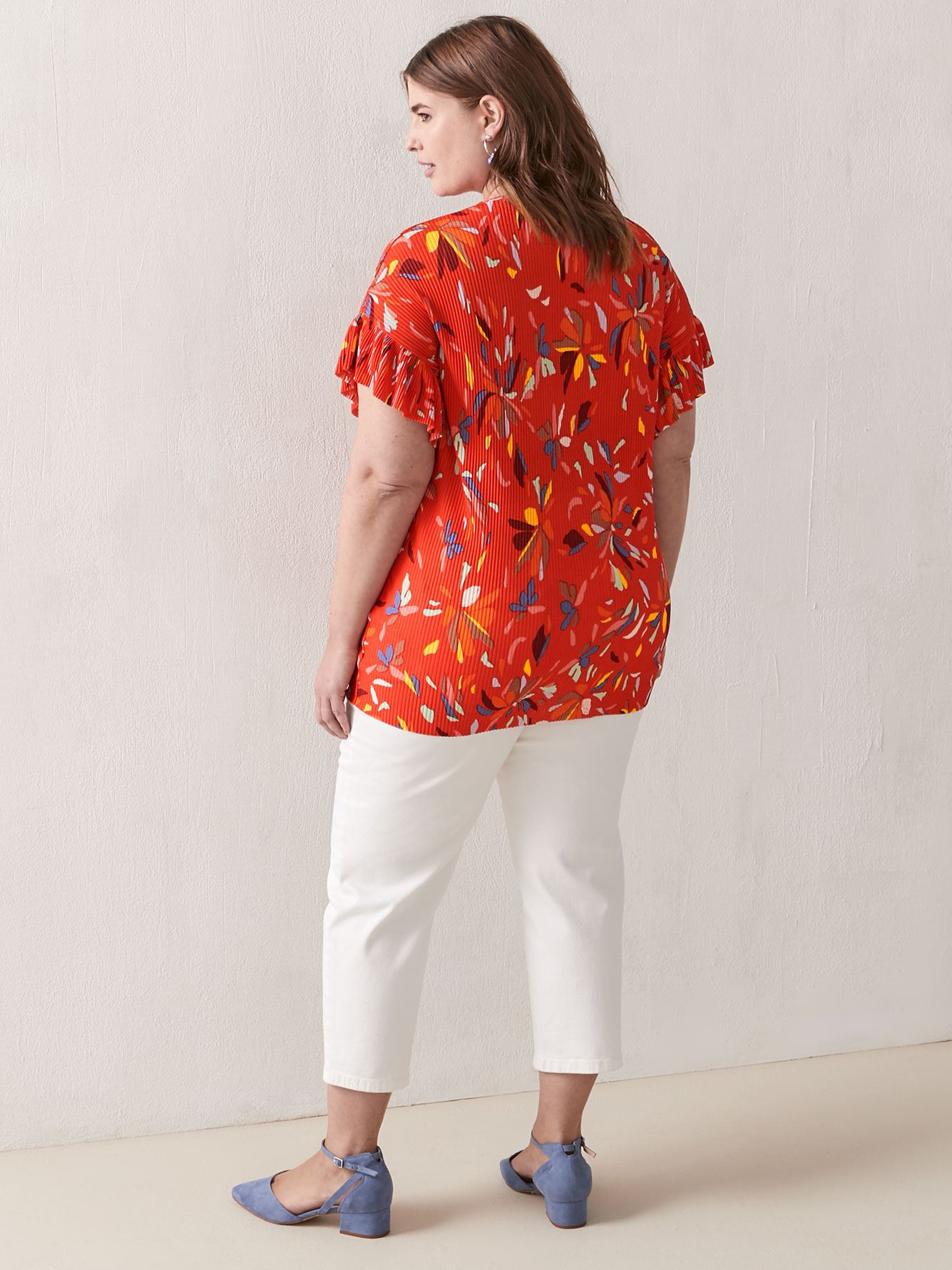 Printed Short Ruffle Sleeve V-Neck Top - Addition Elle