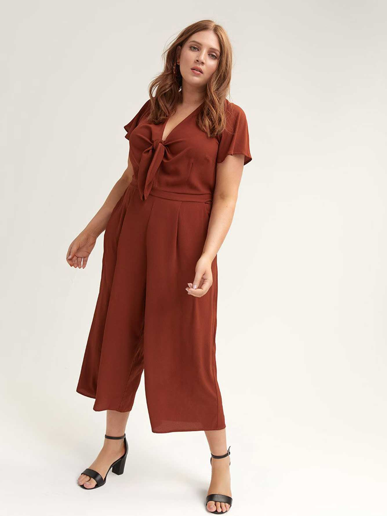One-Piece Jumpsuit Knotted Front - City Chic