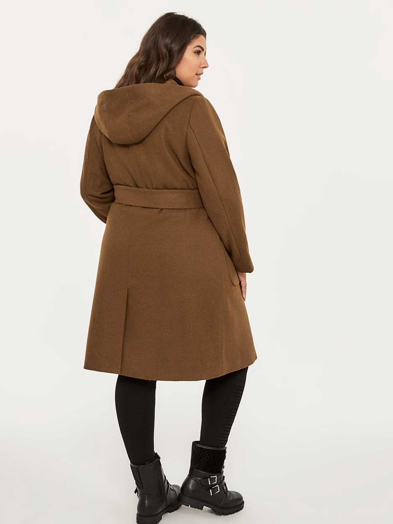 Hooded Coat with Wrap Belt - In Every Story