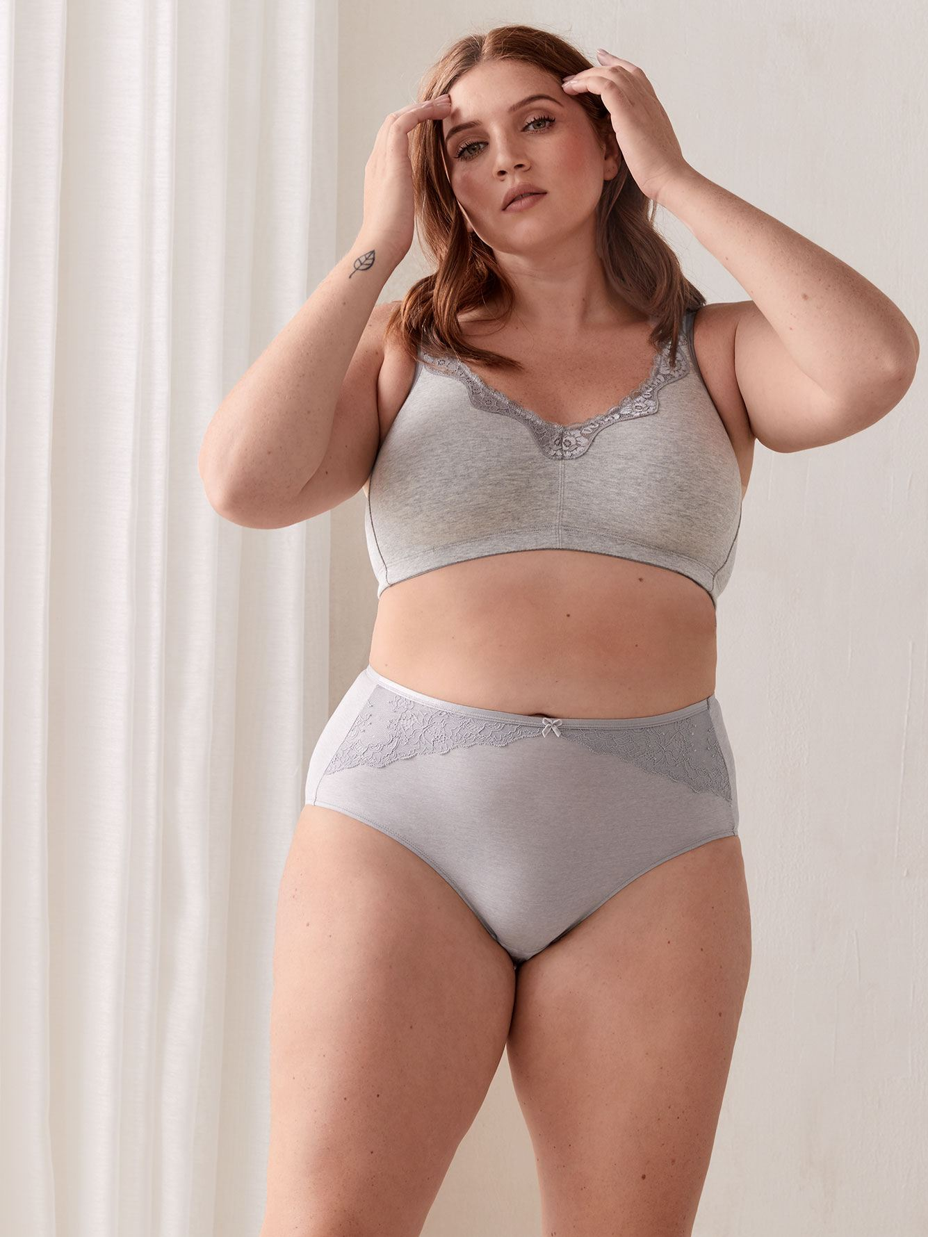 Heathered Wirefree Bra with Lace, G & H Cups - ti Voglio