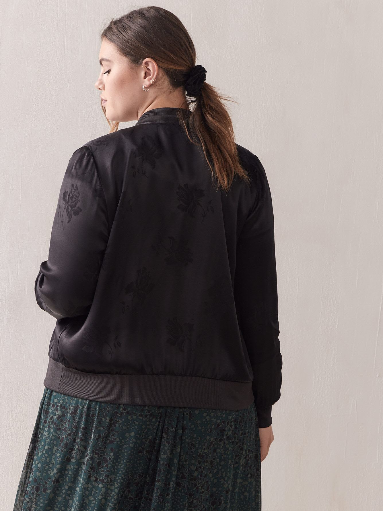 Black Jacquard Bomber Jacket - Addition Elle