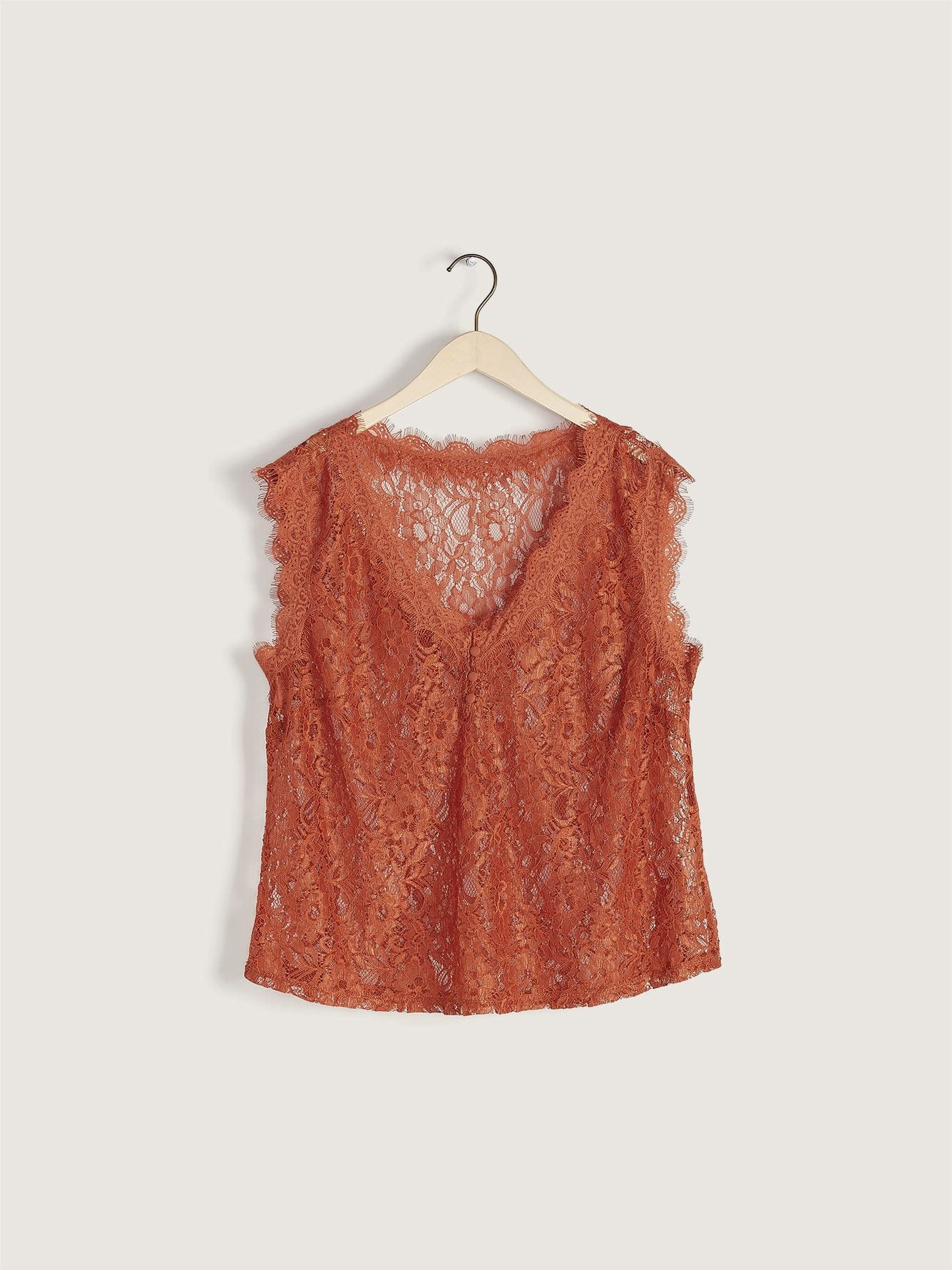 V-Neck Camisole with Lace Trim