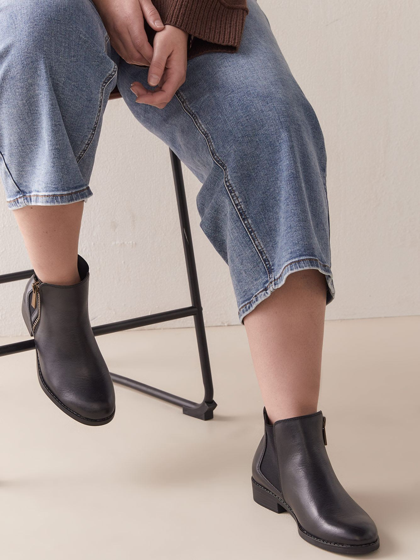 Wide Ankle Leather Booties with Side Zip - Addition Elle