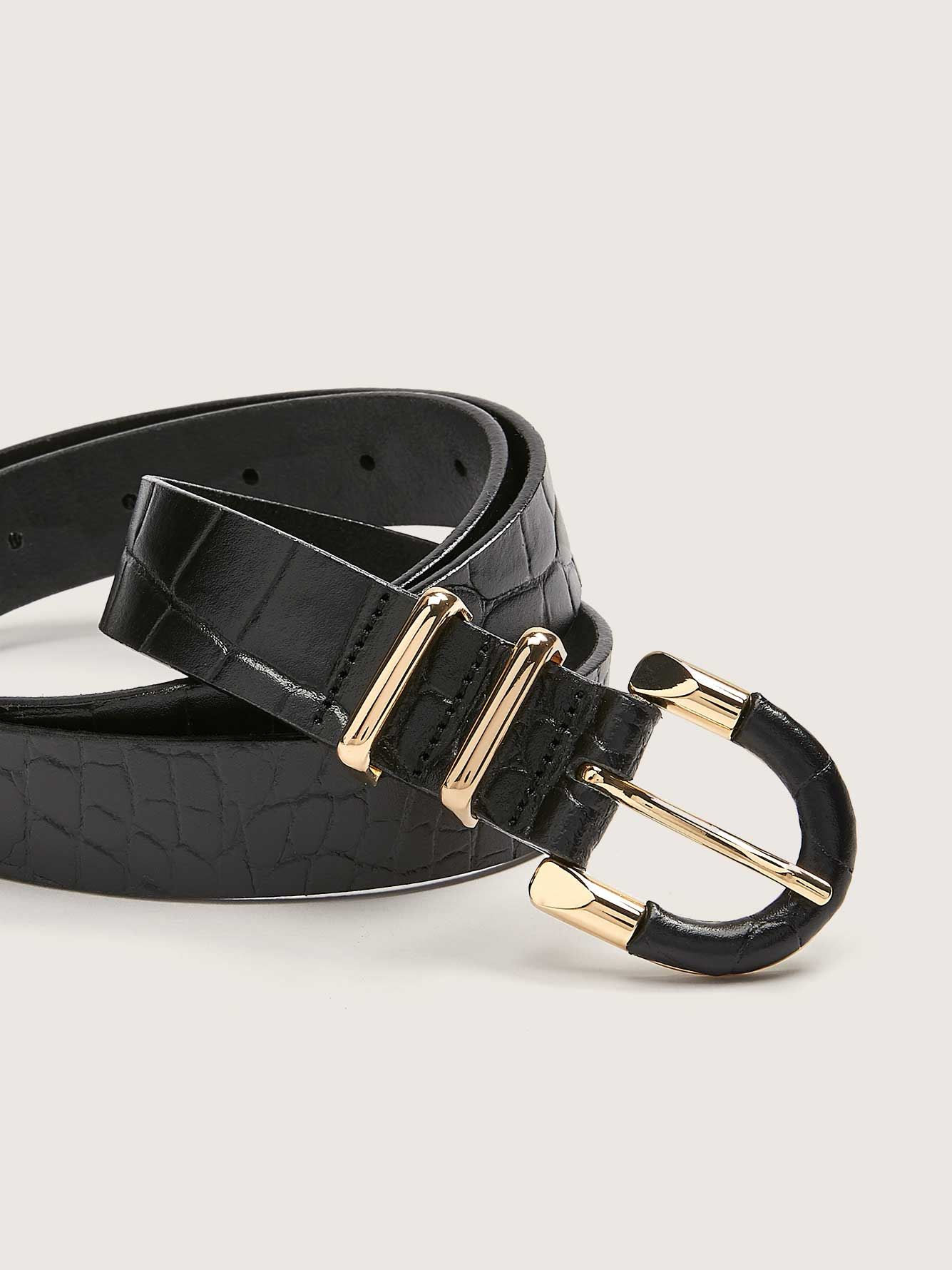 Genuine Leather Belt with Metallic Buckle - Addition Elle
