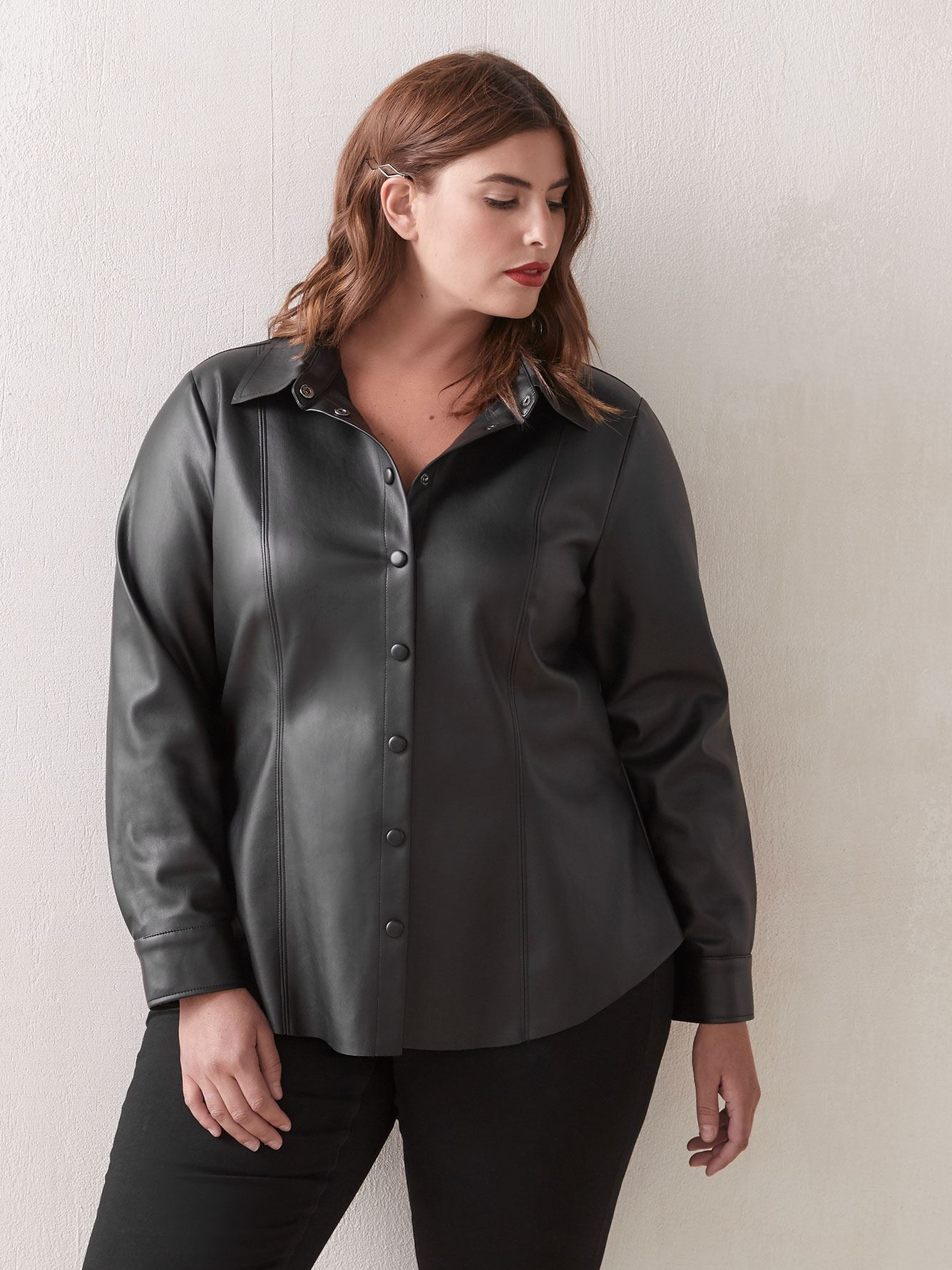 Faux-Leather Button-Down Shirt - Love & Legend