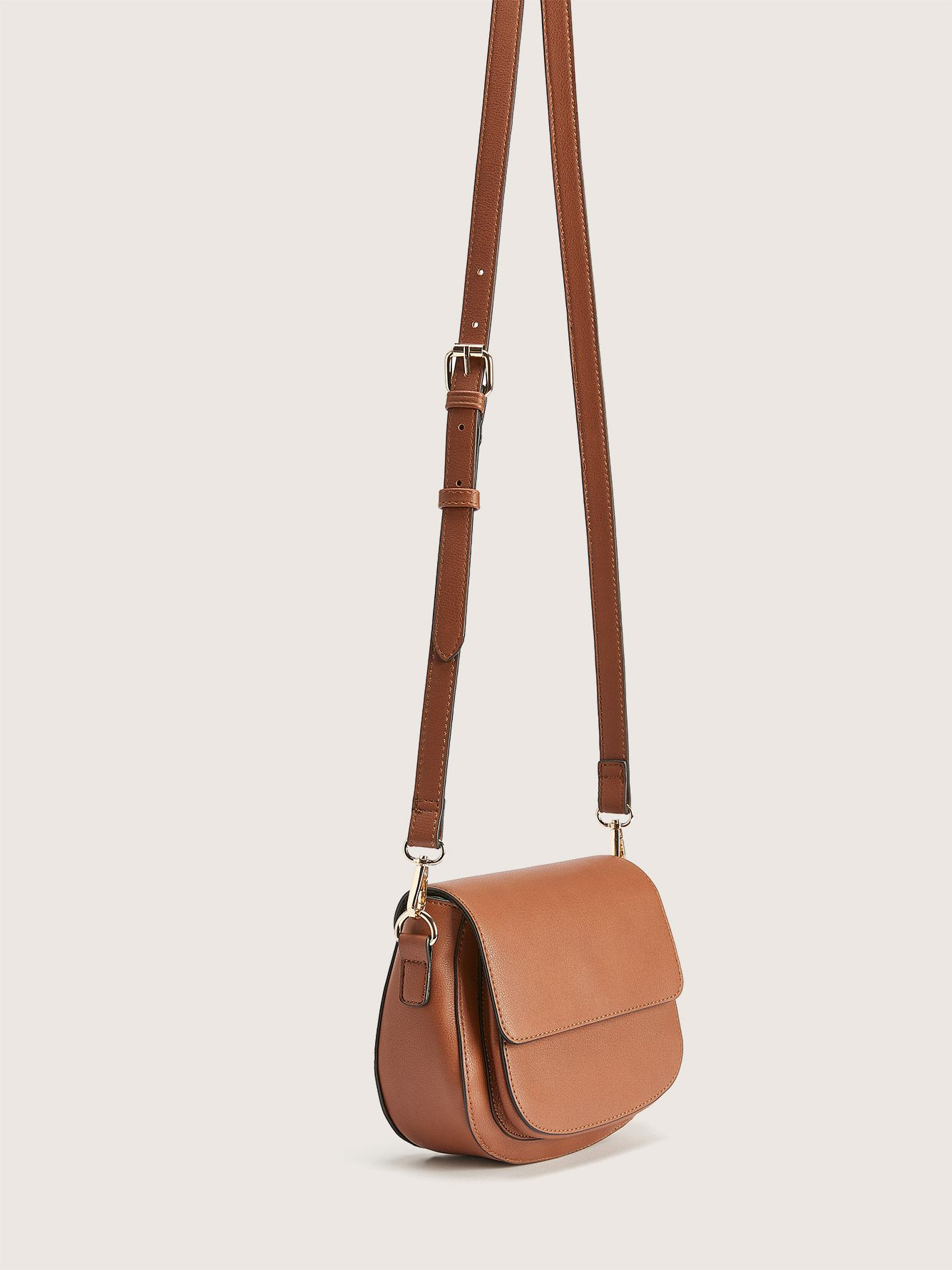 Faux Leather Crossbody Saddle Bag - Addition Elle