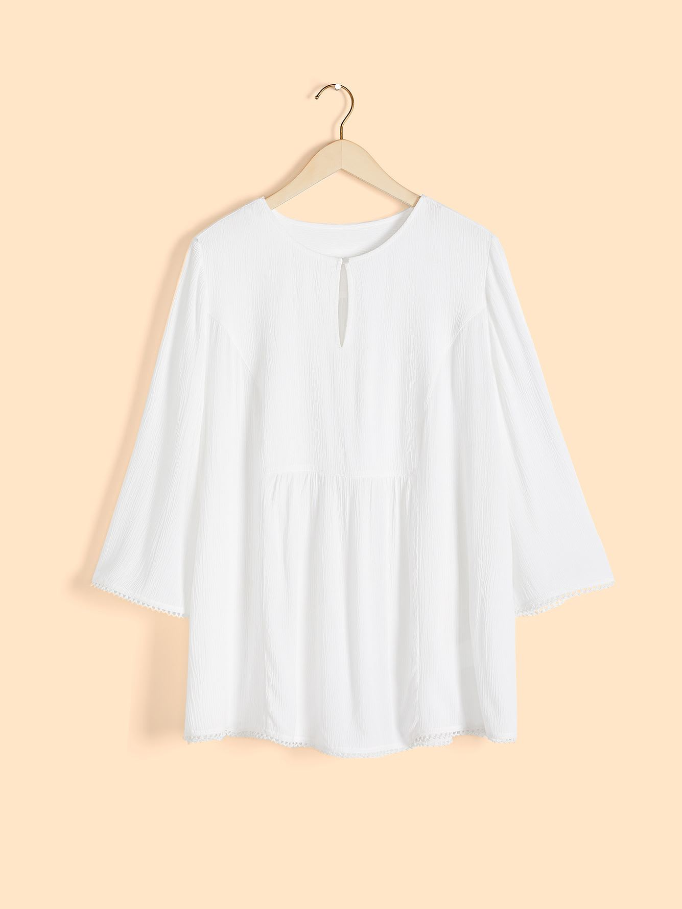 Solid Elbow Sleeve Blouse with Keyhole Front - In Every Story