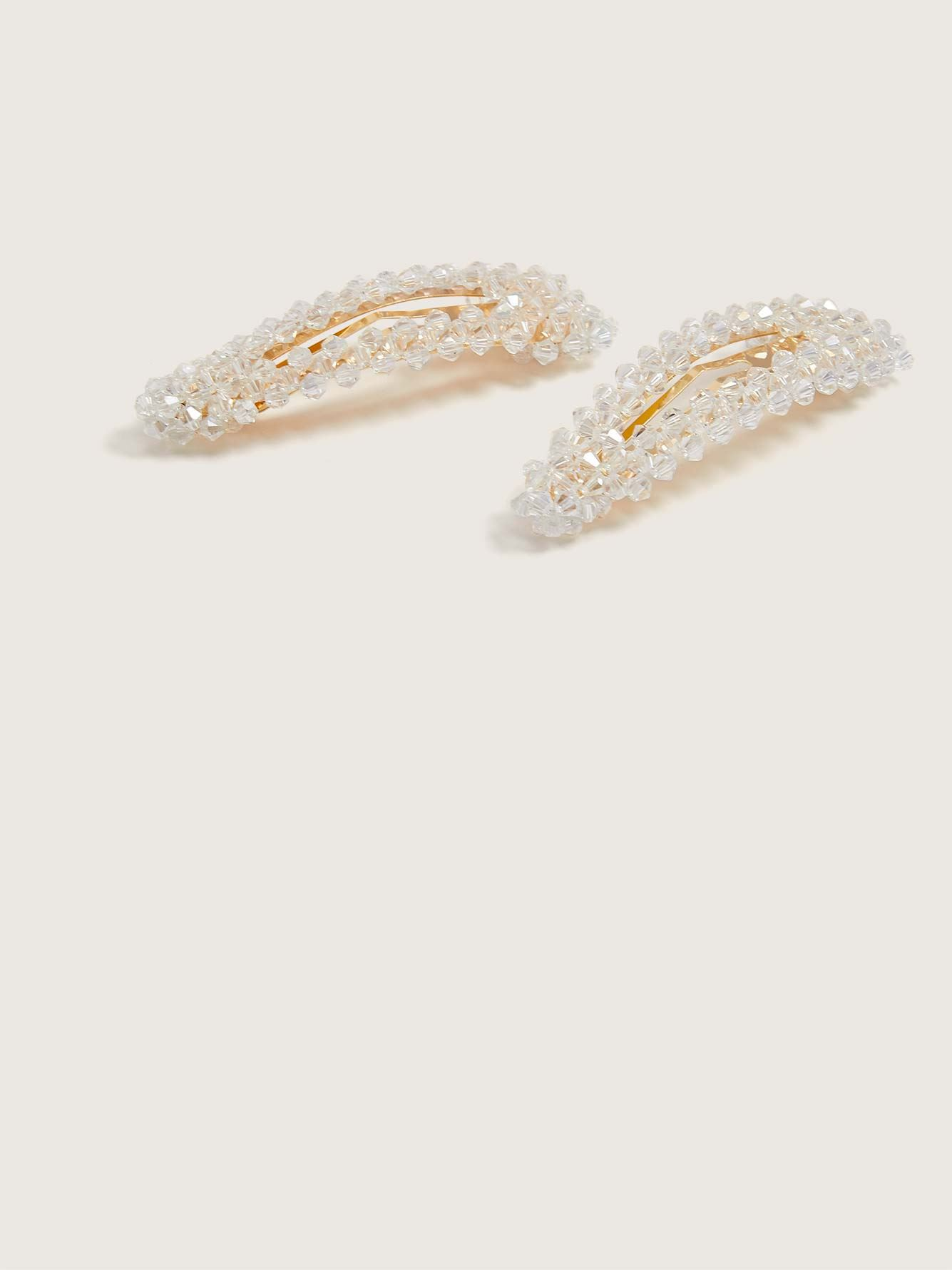 Hair Barrettes with Crystal Beads, Pack of 2 - Addition Elle