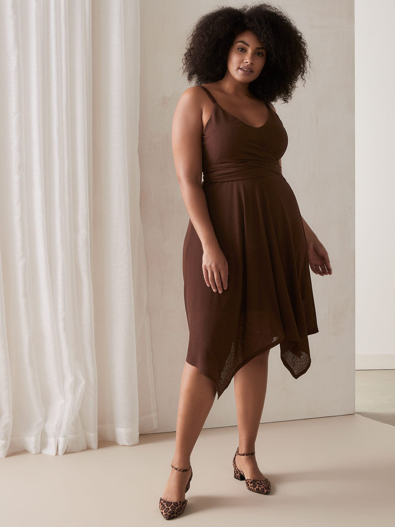 Wrap-Front Hanky Hem Dress