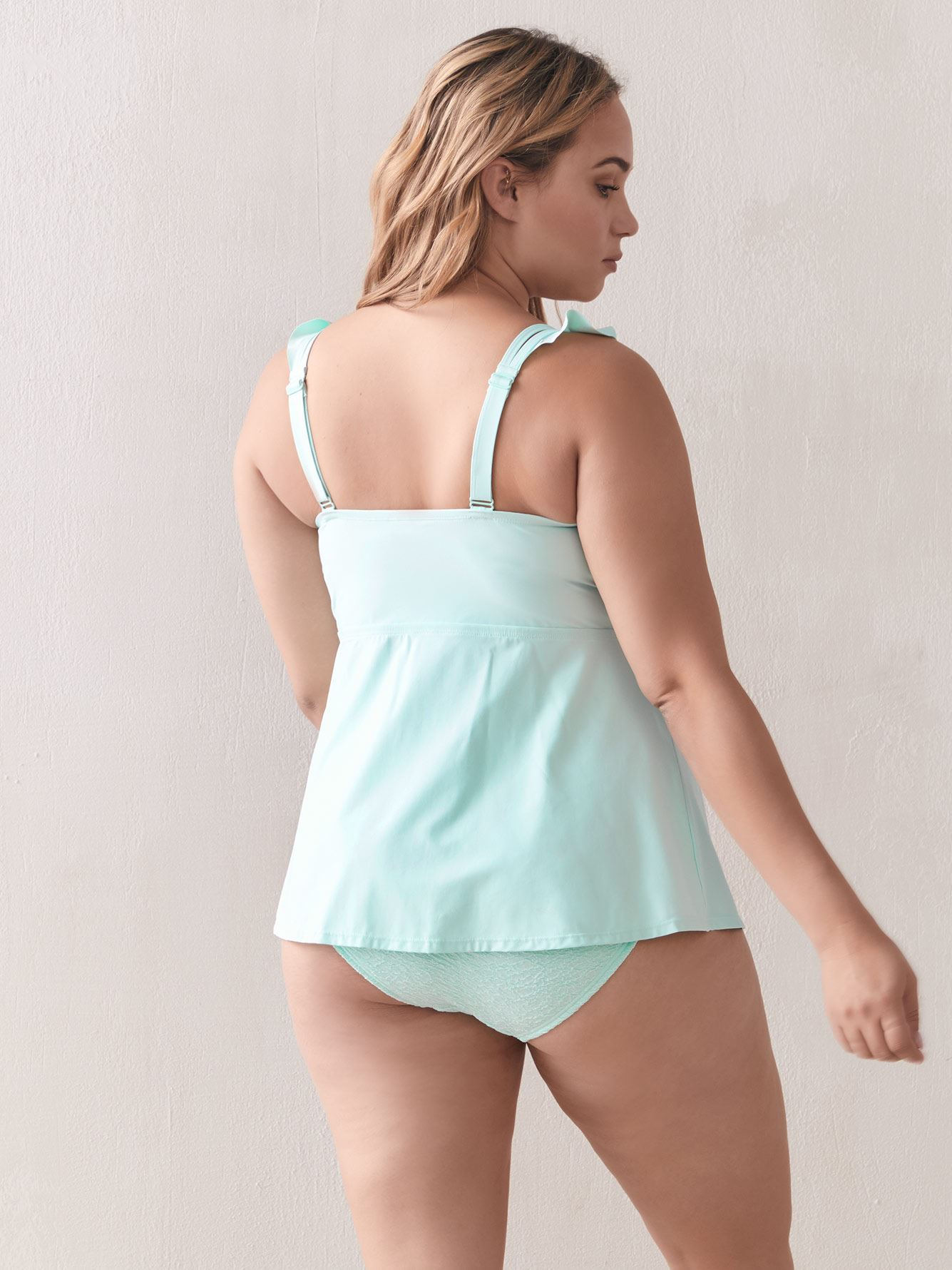 Adjustable Tankini Top with Frill - Addition Elle