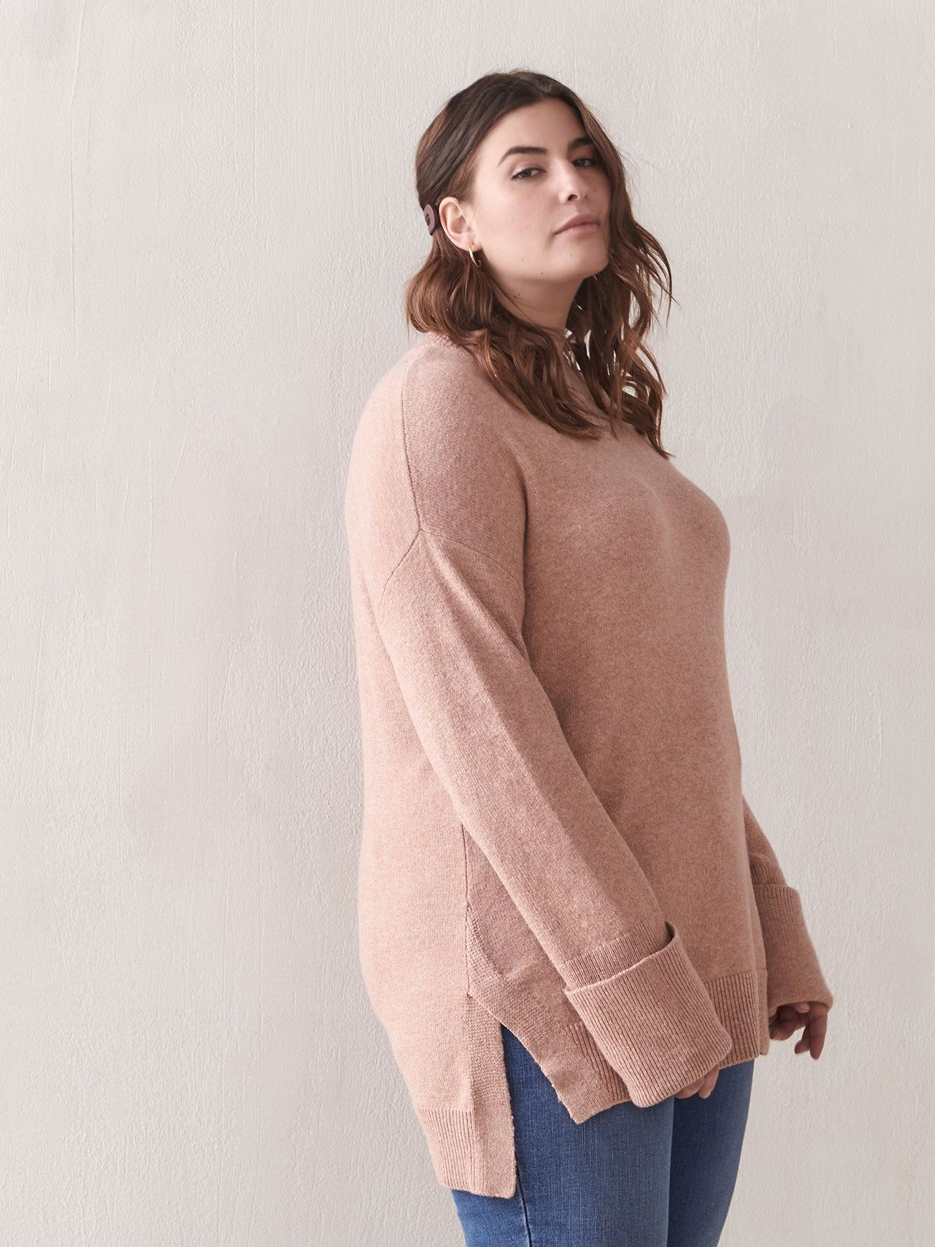 Loose-Fit Mock-Neck Sweater - Addition Elle