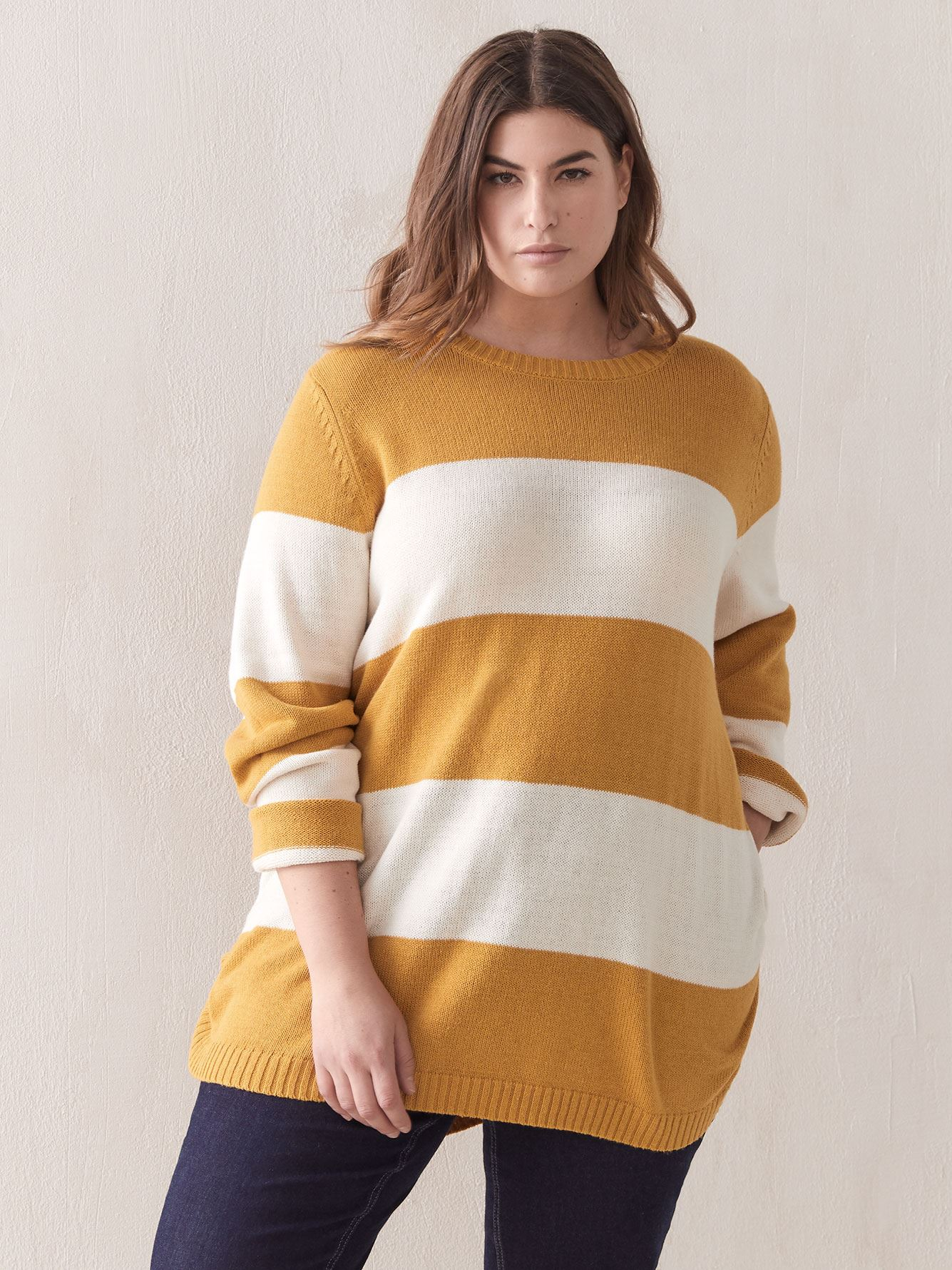 Ribbed Hem Striped Sweater - In Every Story