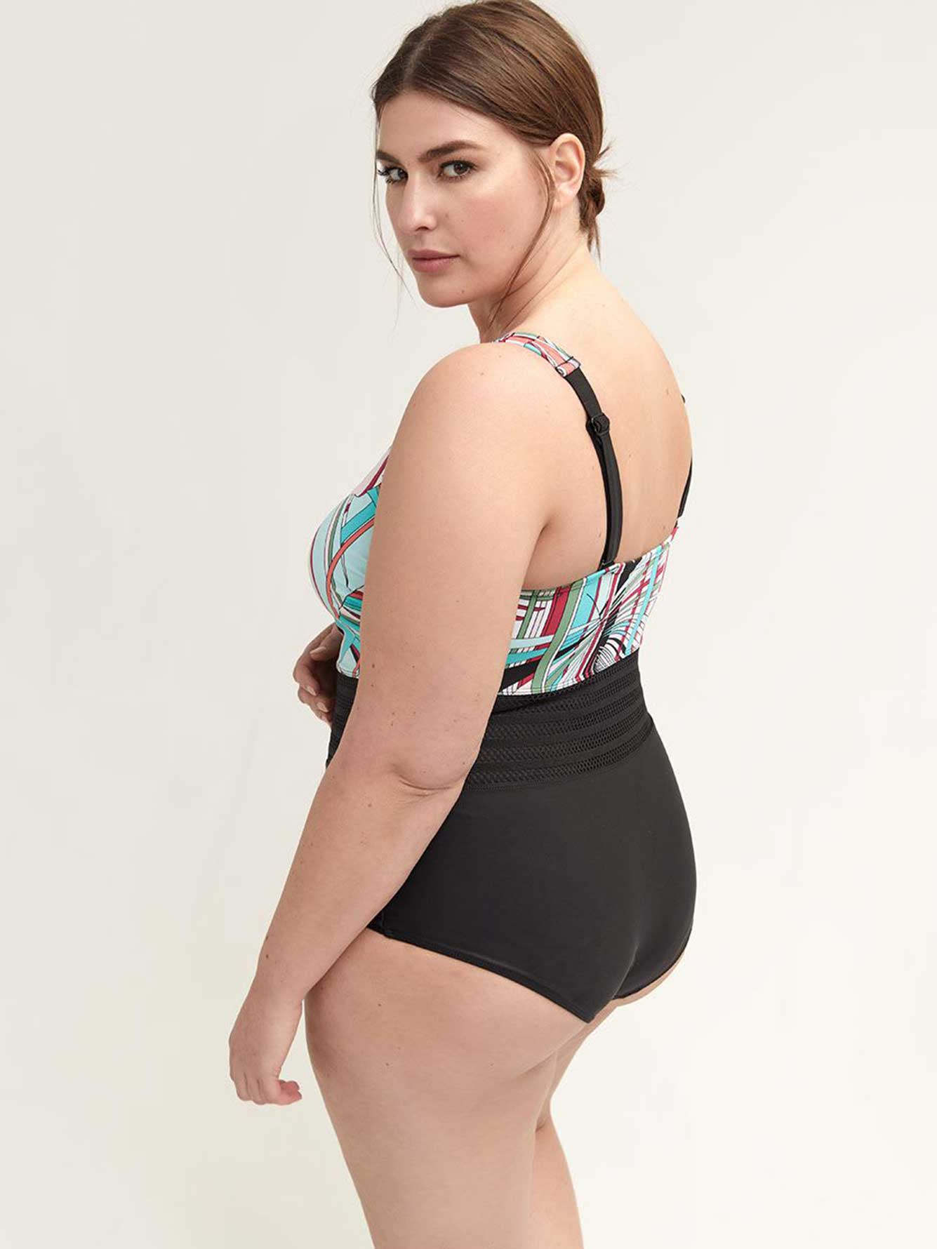 Printed One-Piece Swimsuit with Mesh Inserts - Sea