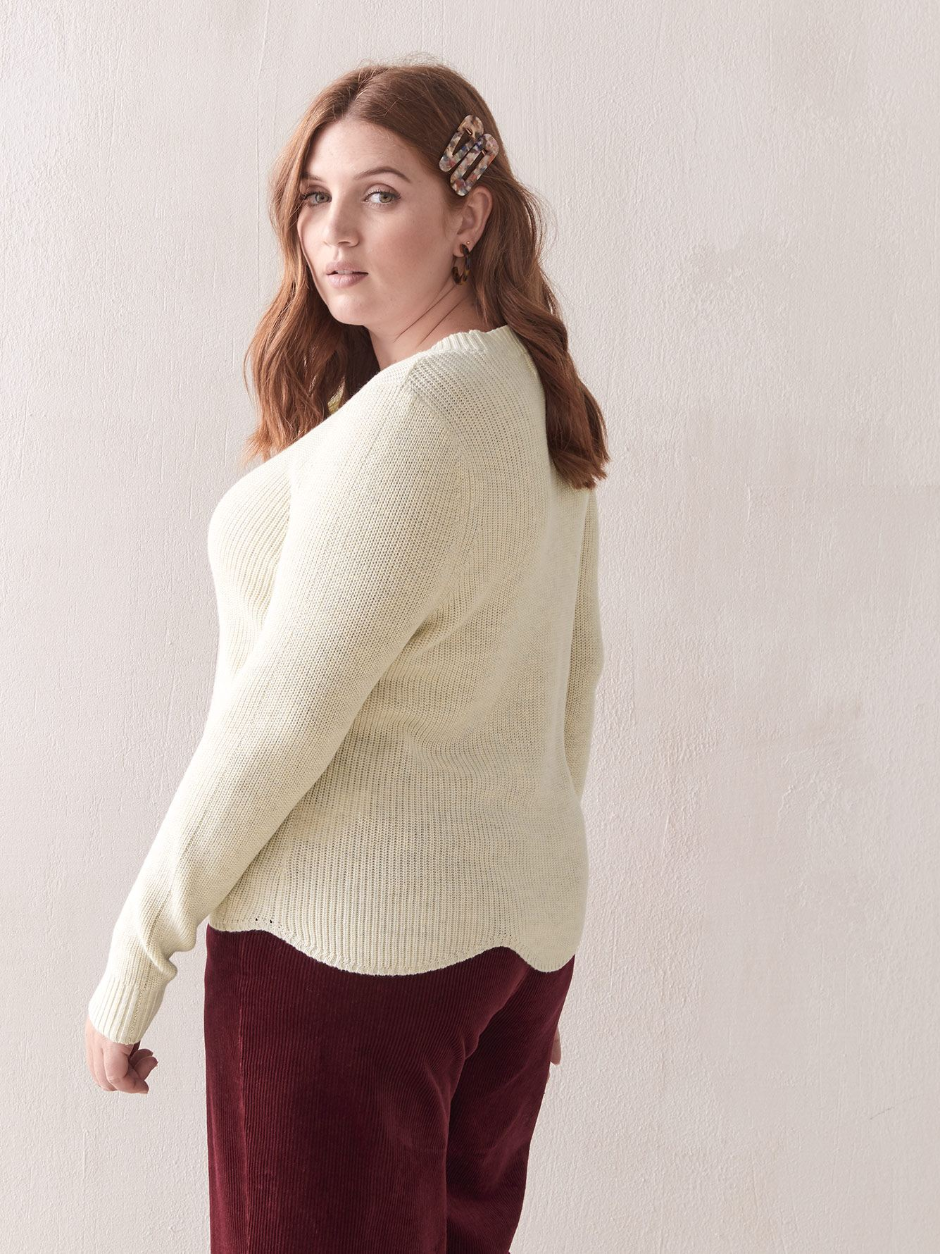Scallop Hem Lurex Sweater - Addition Elle