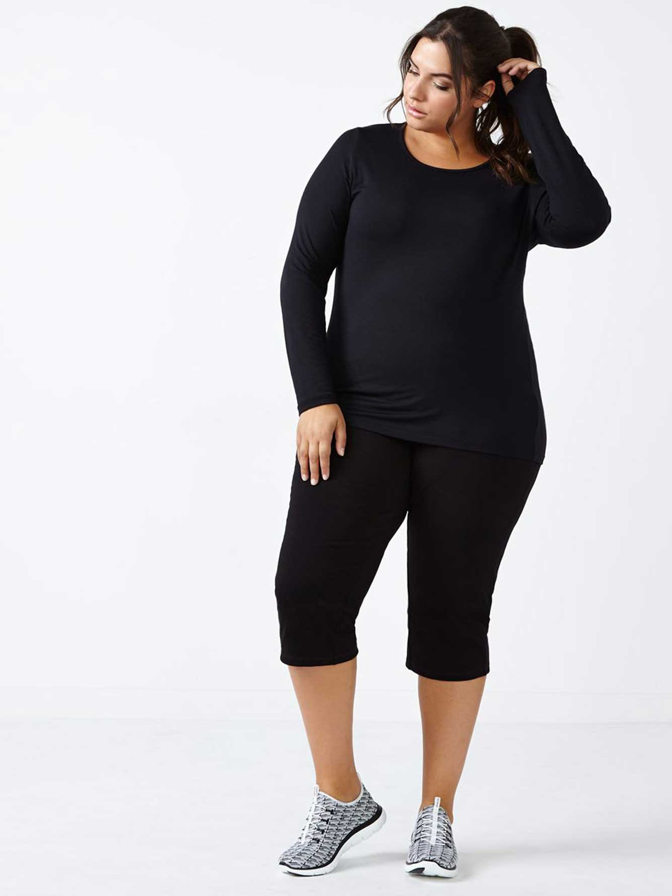 Plus-Size Basic Yoga Capri