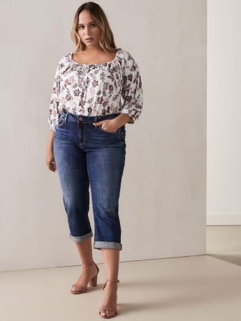 Off-the-Shoulder Peasant Top with 3/4 Balloon Sleeves