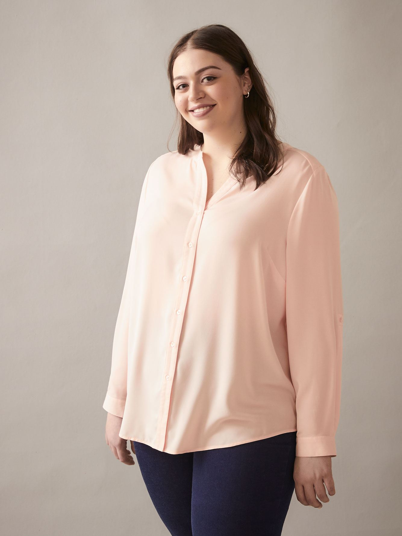 Long-Sleeve Button-Front Blouse - In Every Story