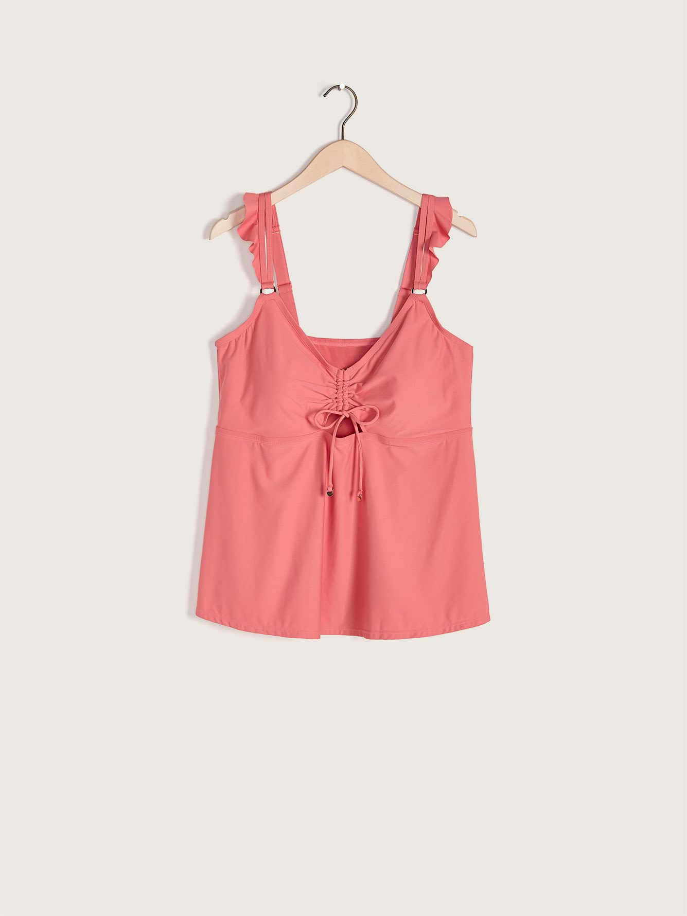Adjustable Tankini Top with Frills - Addition Elle