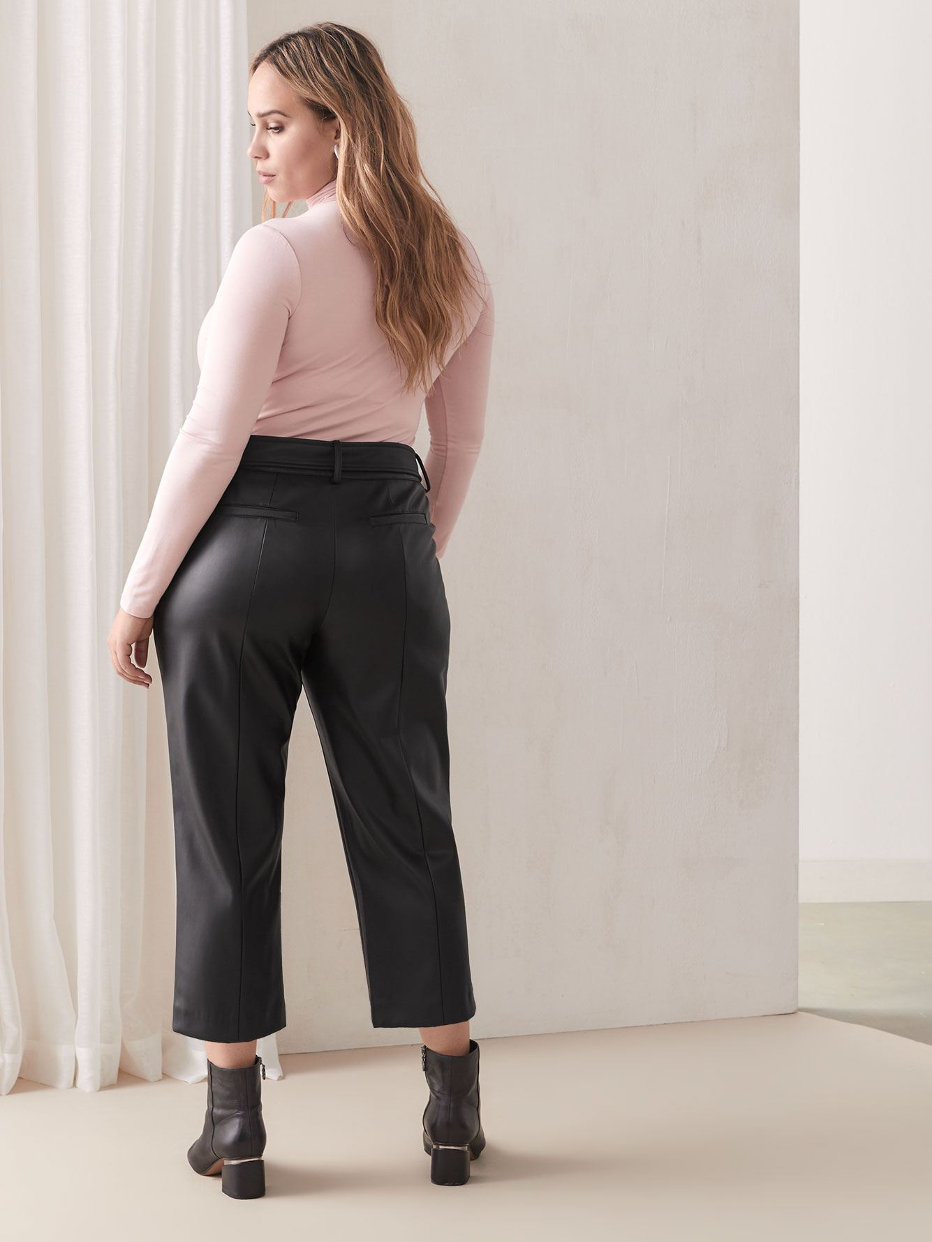 Petite, Belted Faux-Leather Pant - Addition Elle