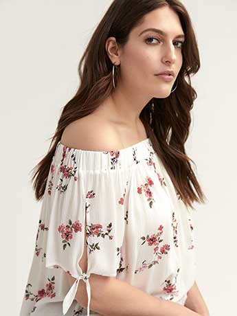 Off-the-Shoulder Short Sleeve Blouse - In Every Story