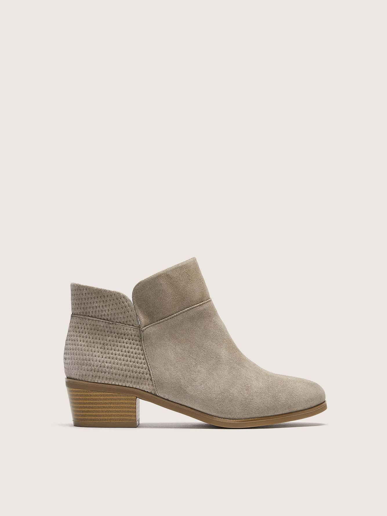 Wide Suede Textured Ankle Booties - Addition Elle