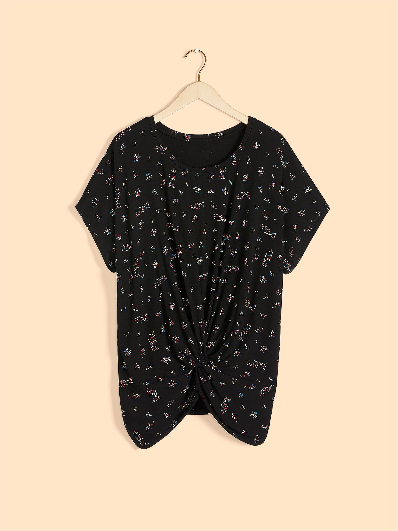 Printed Short Sleeve Top with Twist Detail - In Every Story