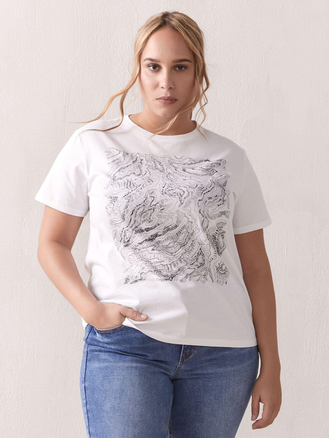 Graphic Crew-Neck T-Shirt - Addition Elle