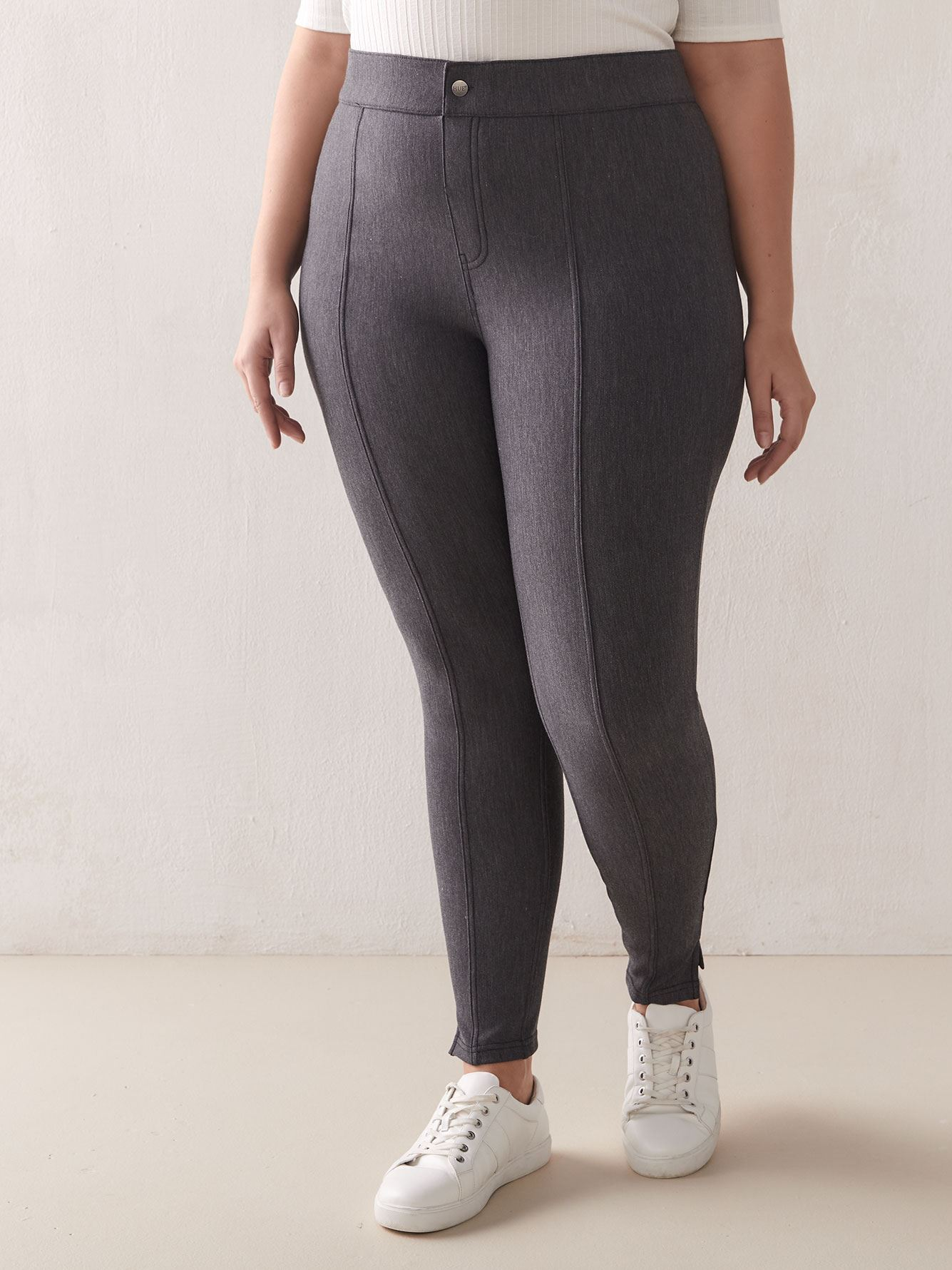 7/8 Pintucked Tweed Leggings - Hue