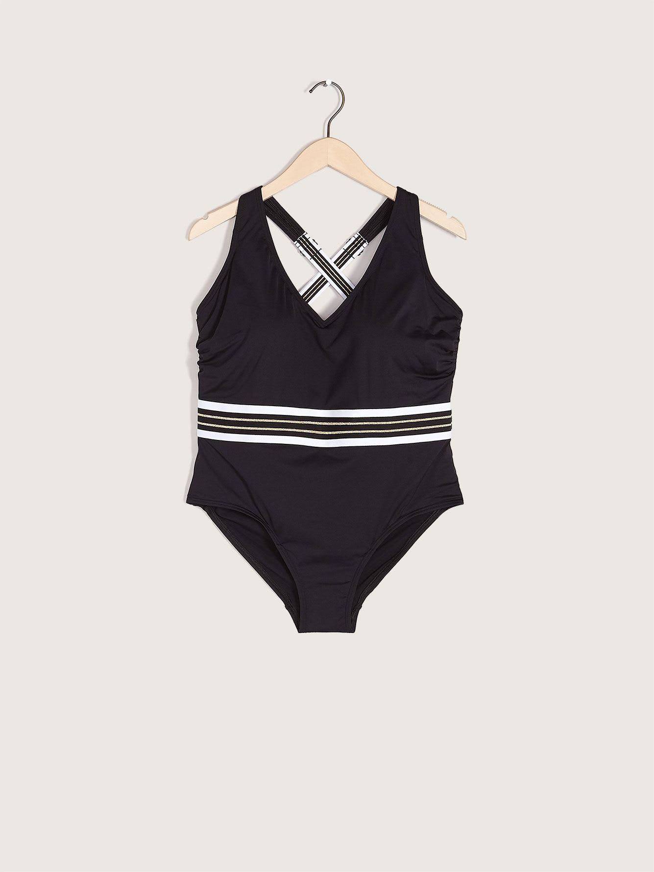 One-Piece Swimsuit with Striped Elastic Waistband - Addition Elle