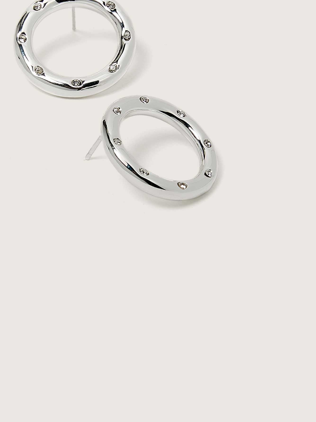 Plated Hoop Earrings with Zirconia Stone - Addition Elle