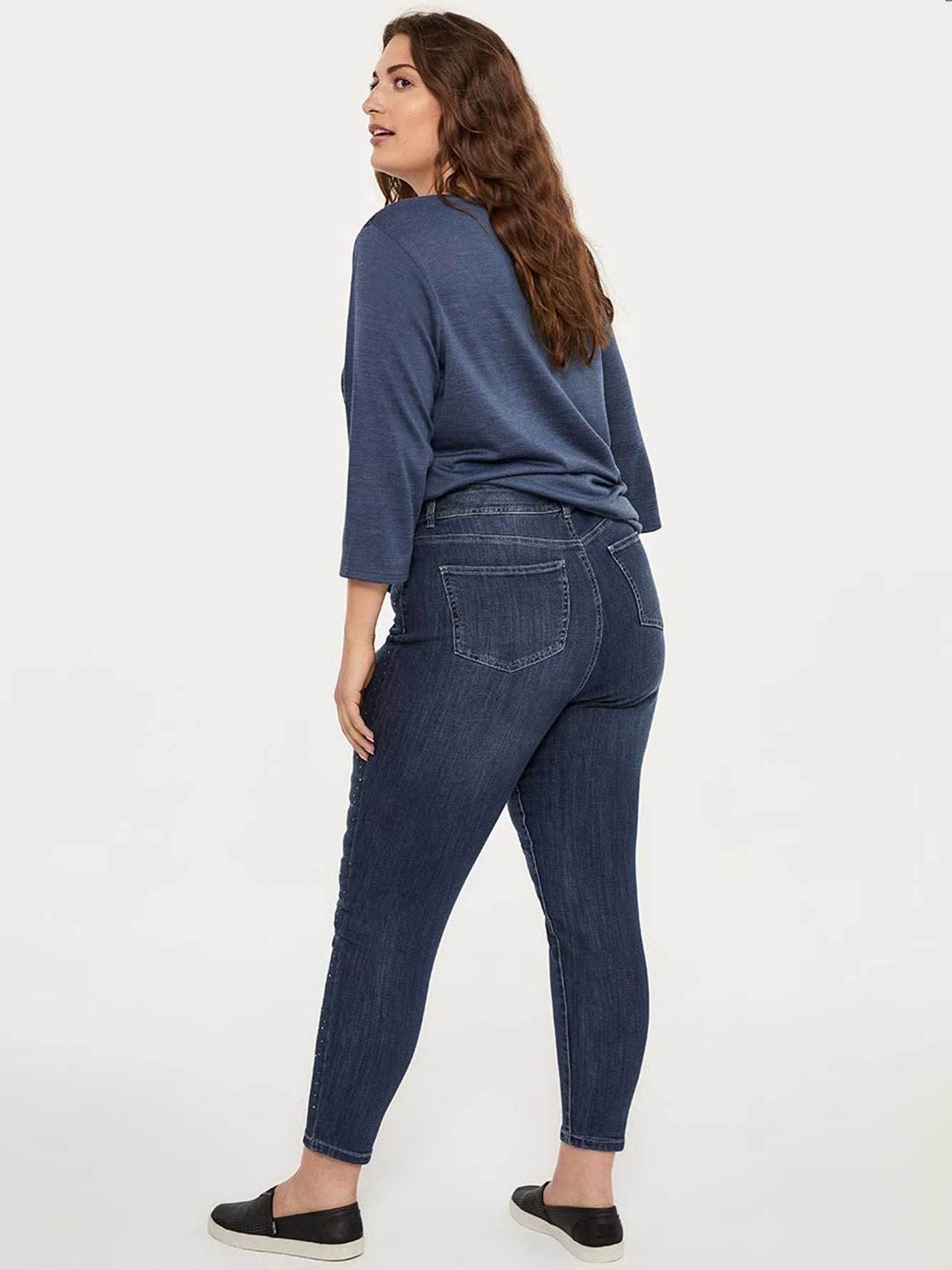 ONLINE ONLY - Tall Slightly Curvy Skinny Ankle Jean with Rhinestones - d/C JEANS