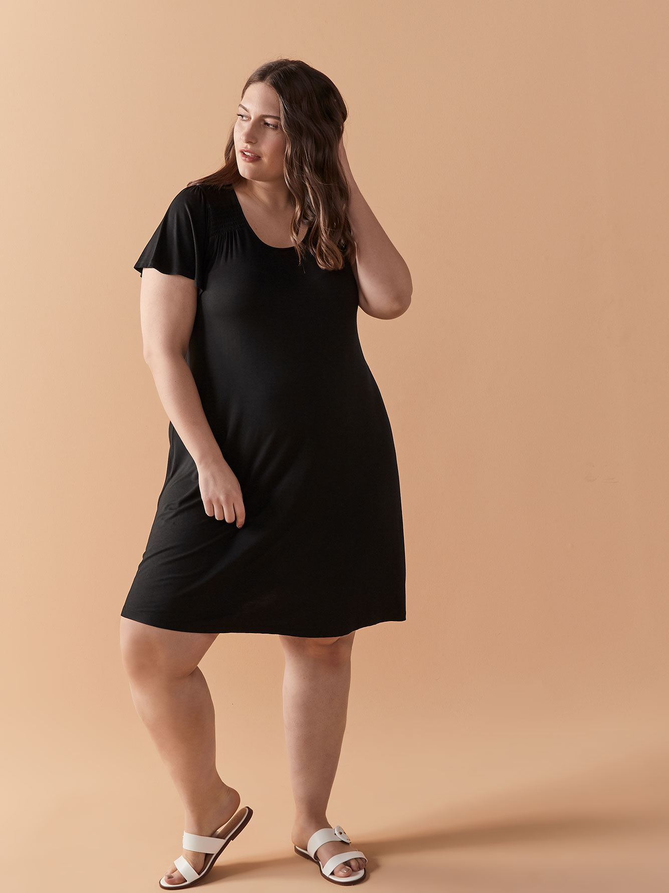 Solid Short Flutter Sleeve Dress - In Every Story
