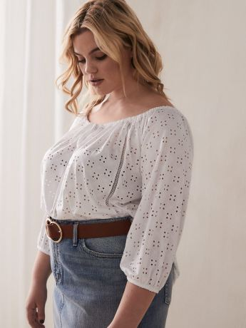 Off-the-Shoulder Eyelet Top with 3/4 Balloon Sleeves