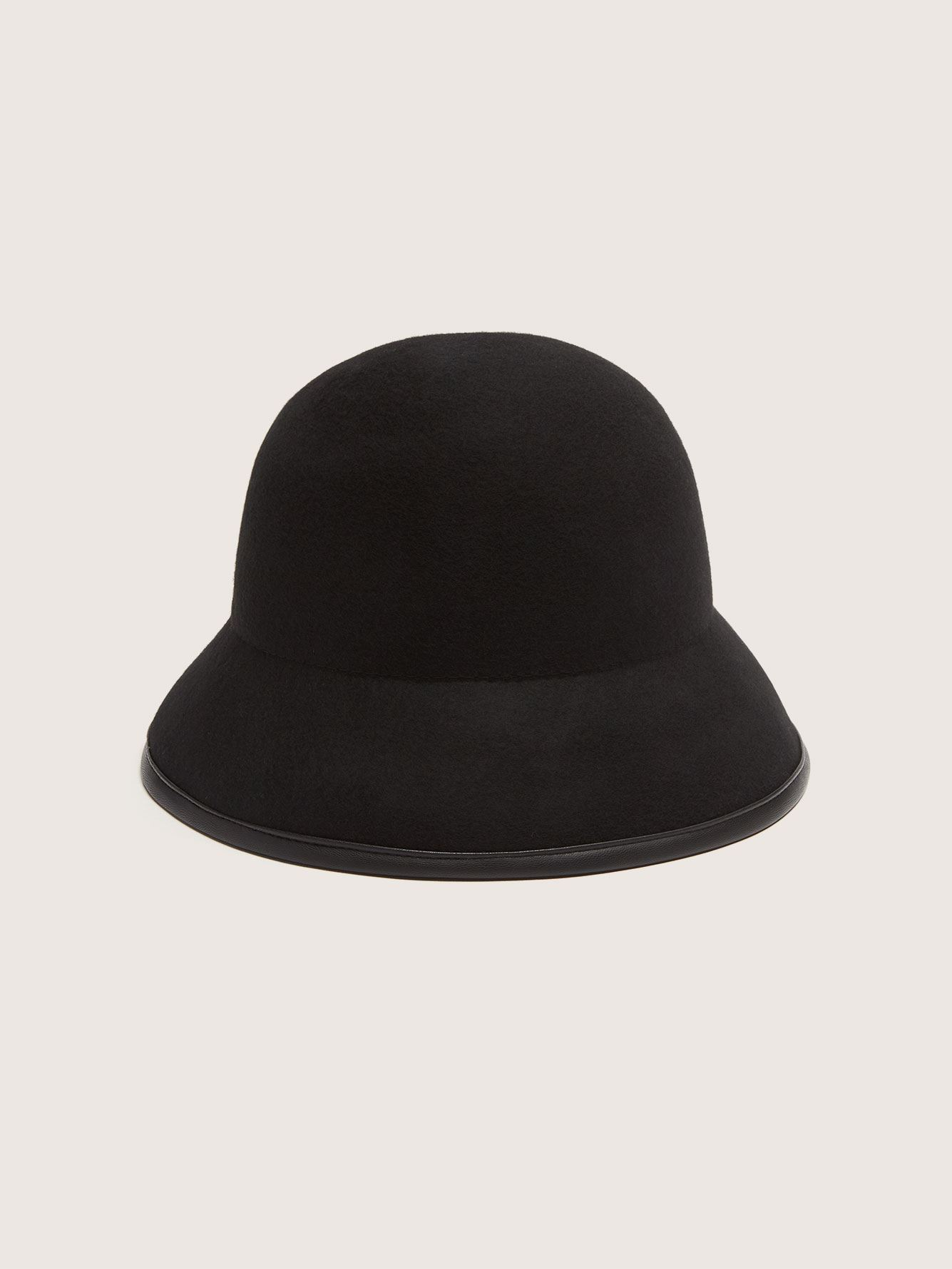 Felt Cloche Hat with Leather Details - Canadian Hat
