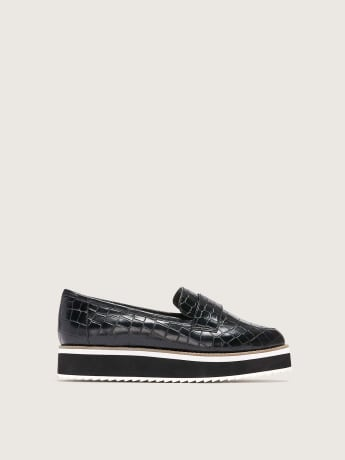 Wide Width Croco Flatform Loafers - Addition Elle
