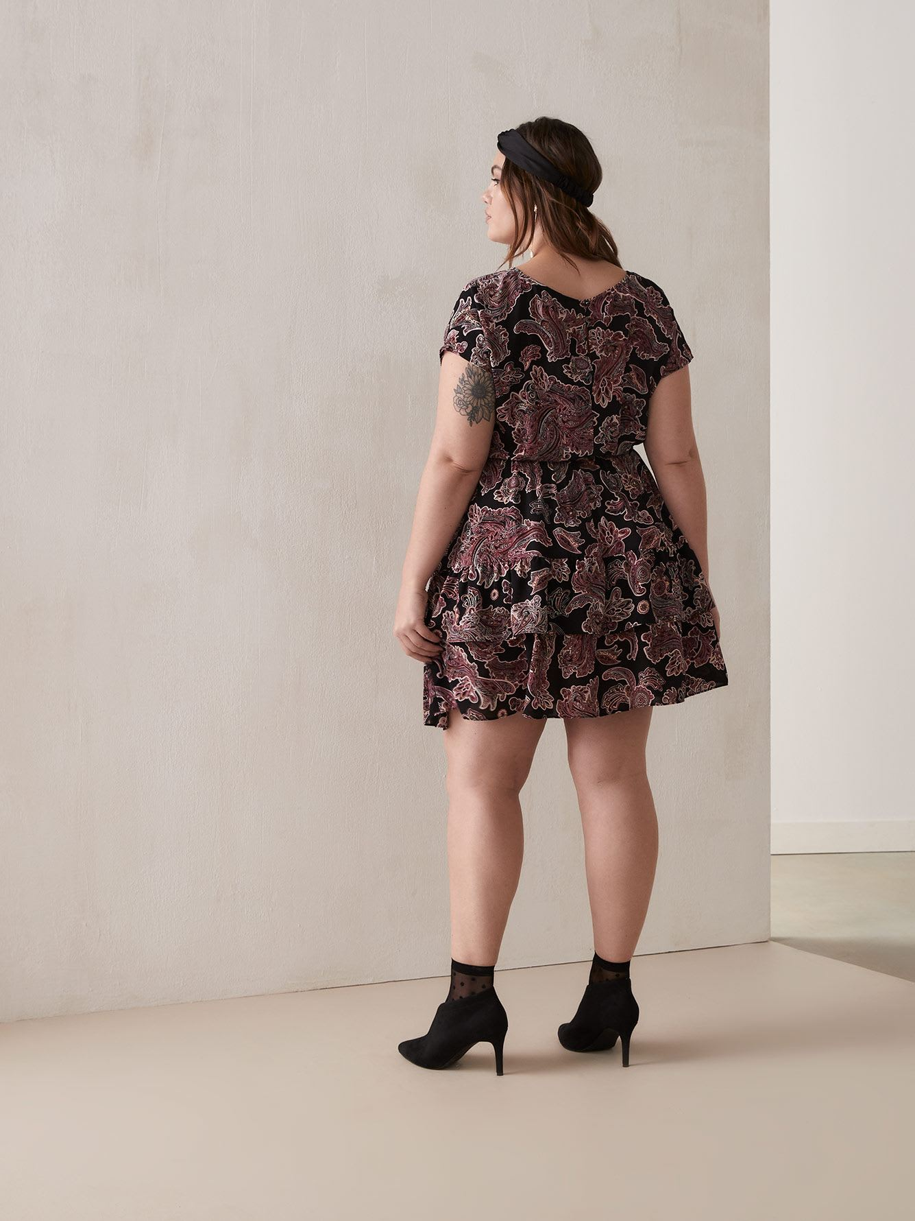 Paisley Jacquard Tiered Flounce Dress