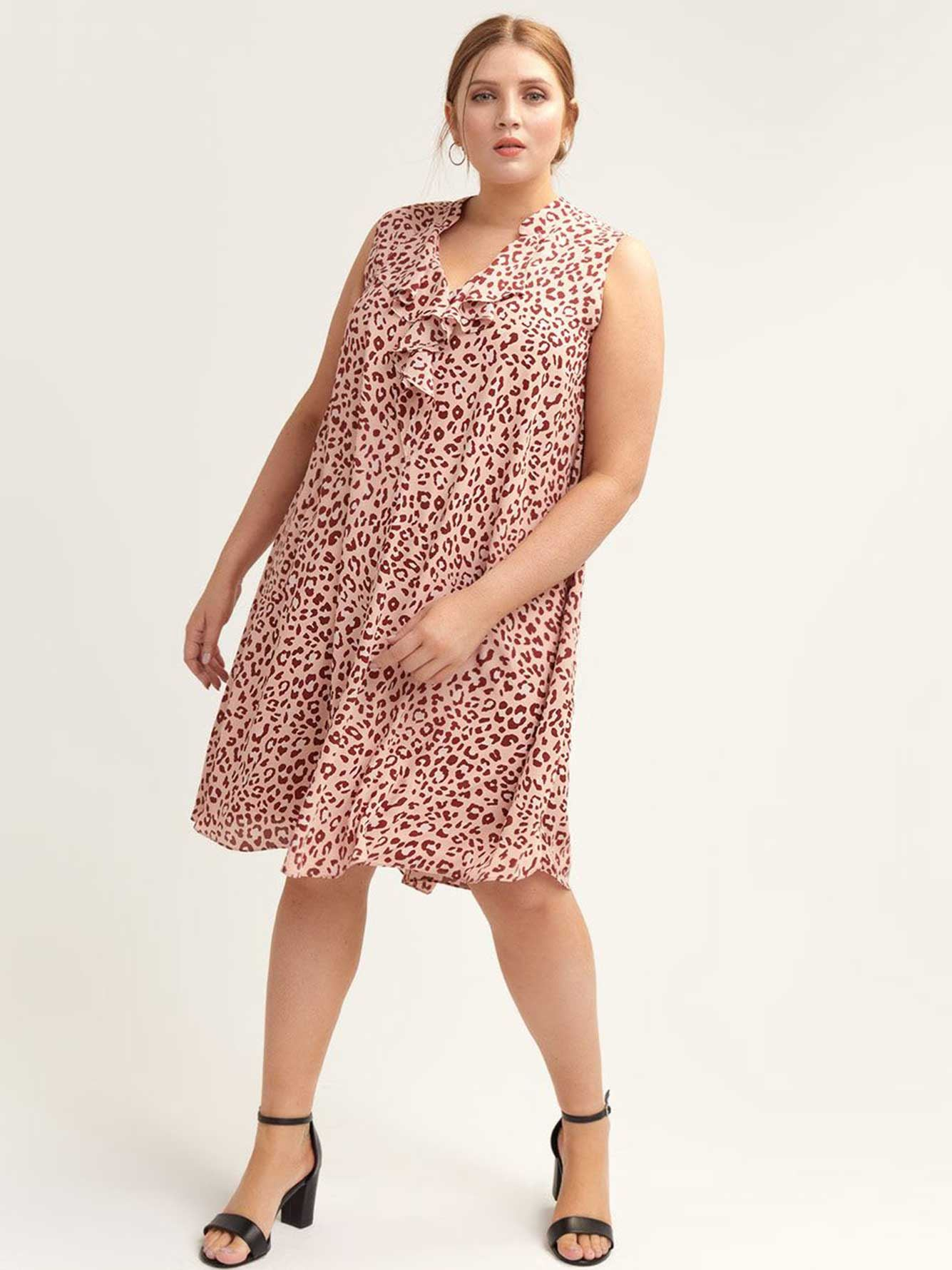 Swing Dress with Ruffle Neckline