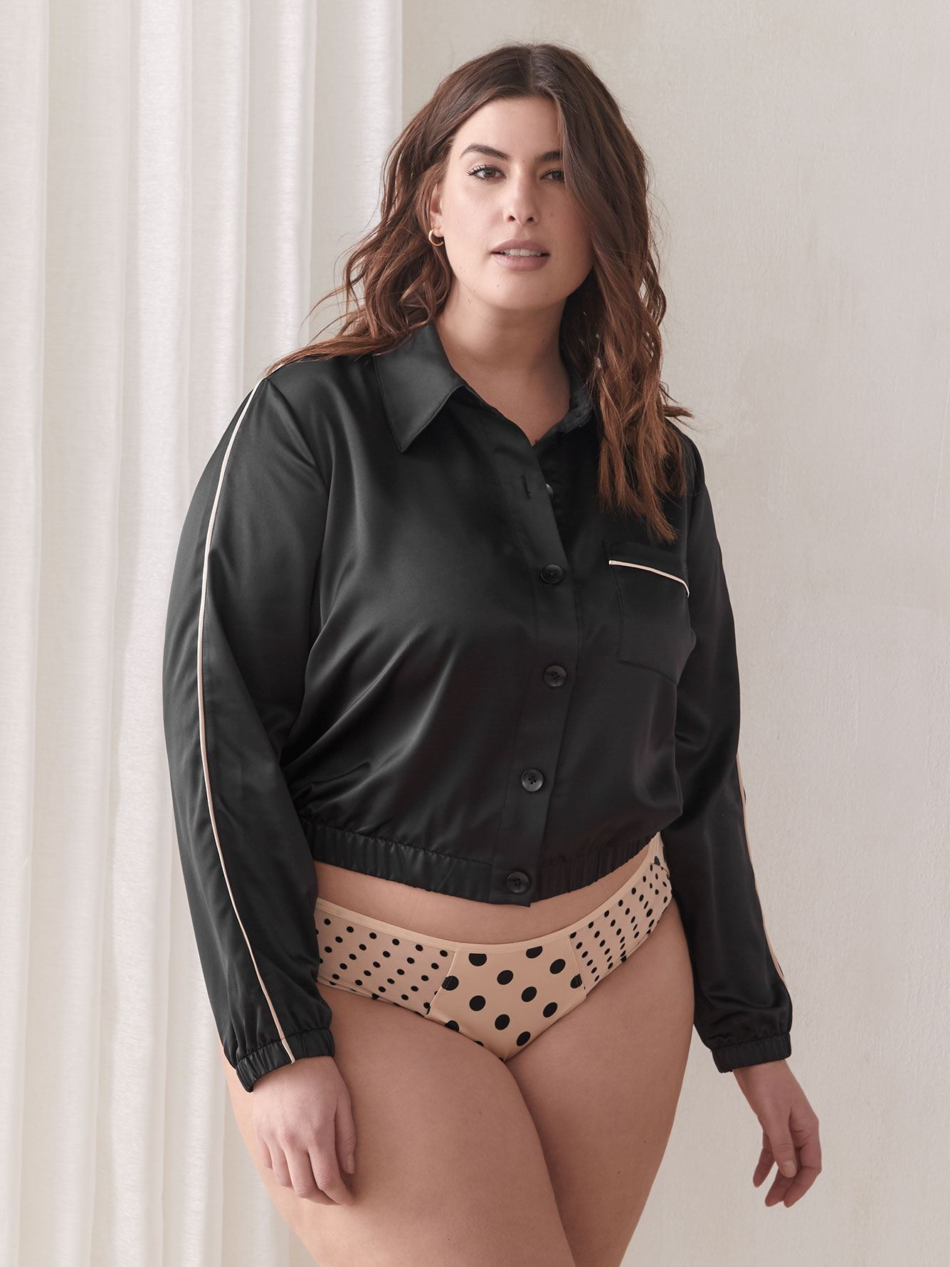 Pajama Crop Top with Piping Detail - Ashley Graham