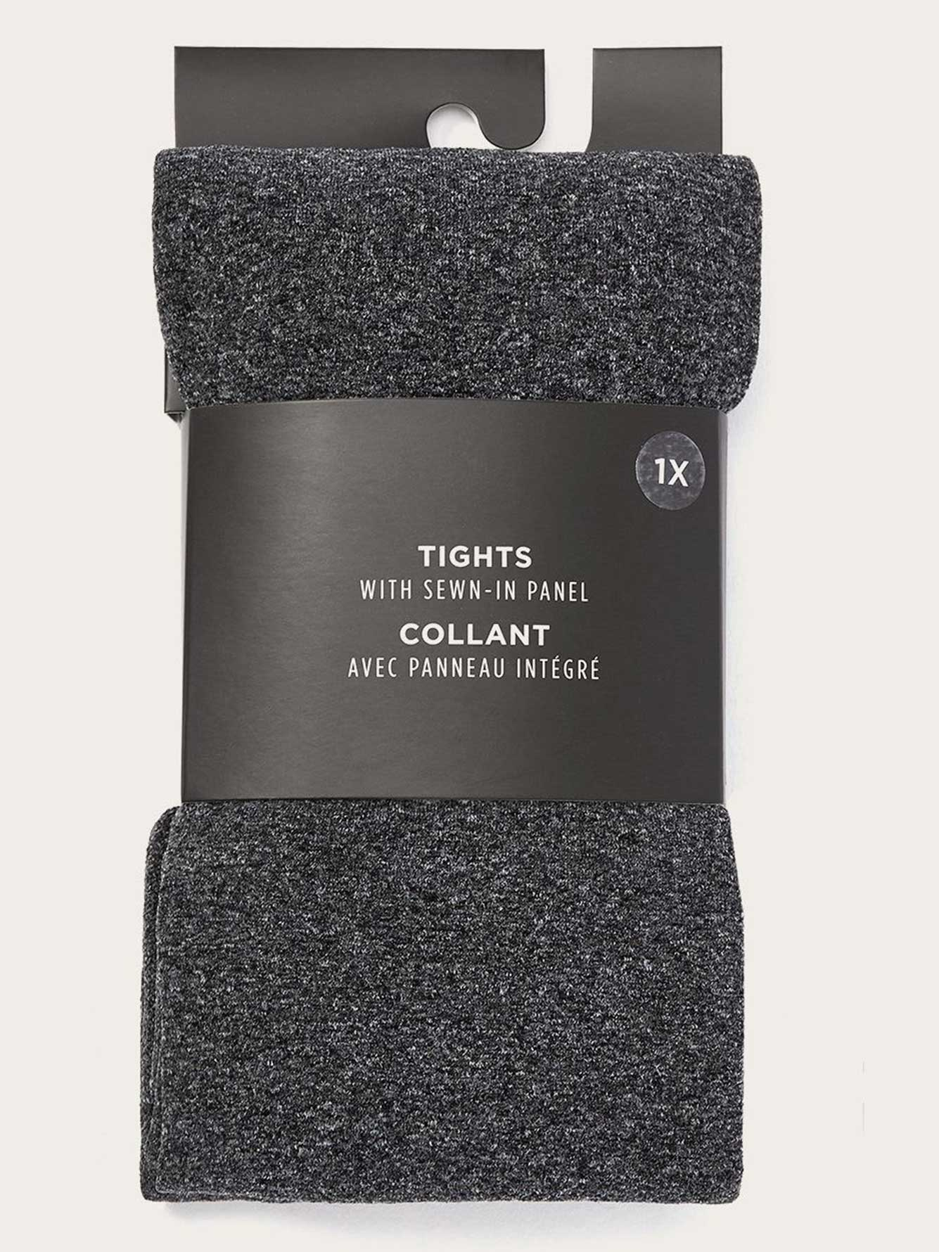 Basic Grey Tights with Sewn-In Panel