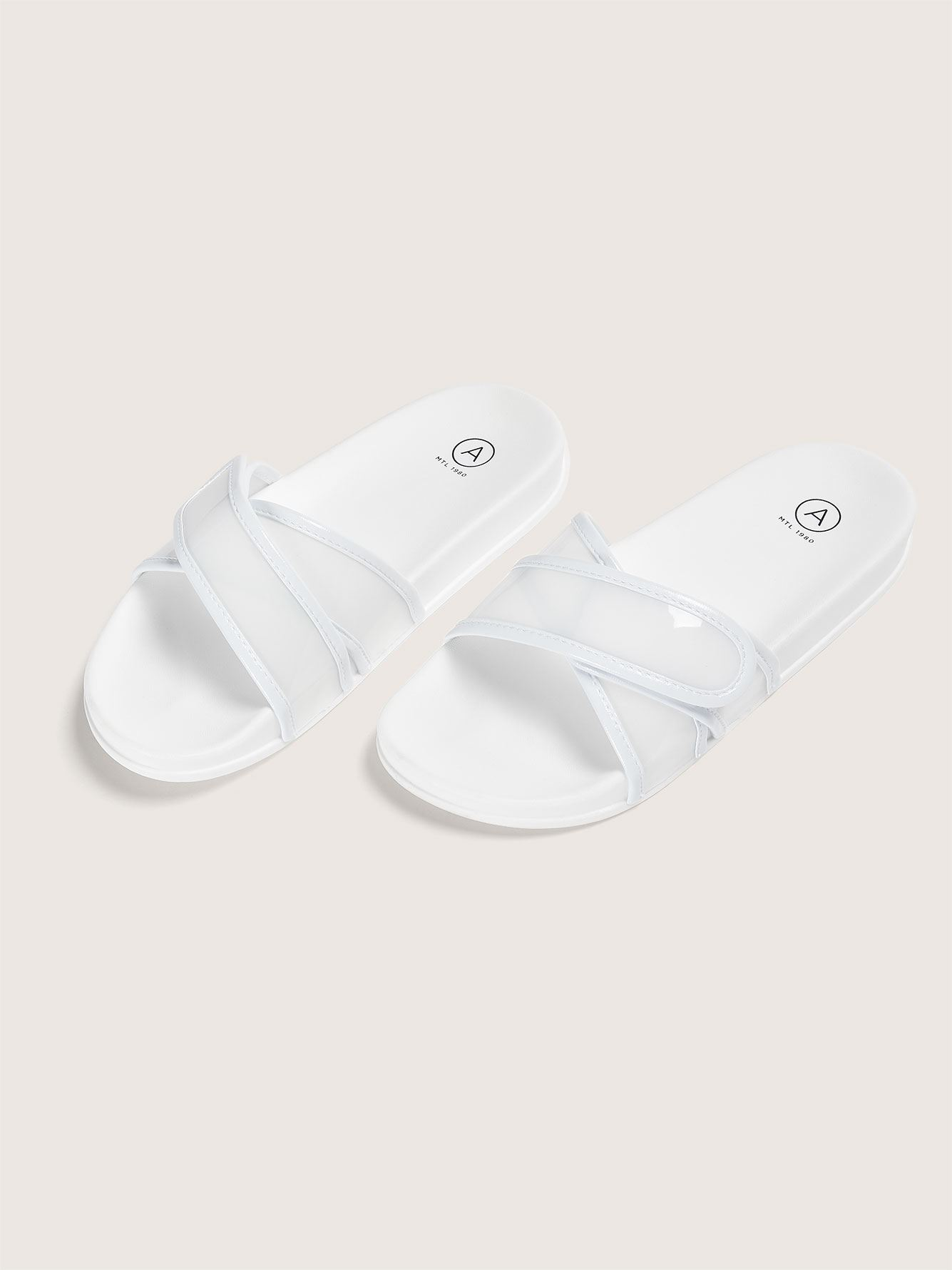 Wide Pool Slide Sandal with Velcro Strap - Addition Elle