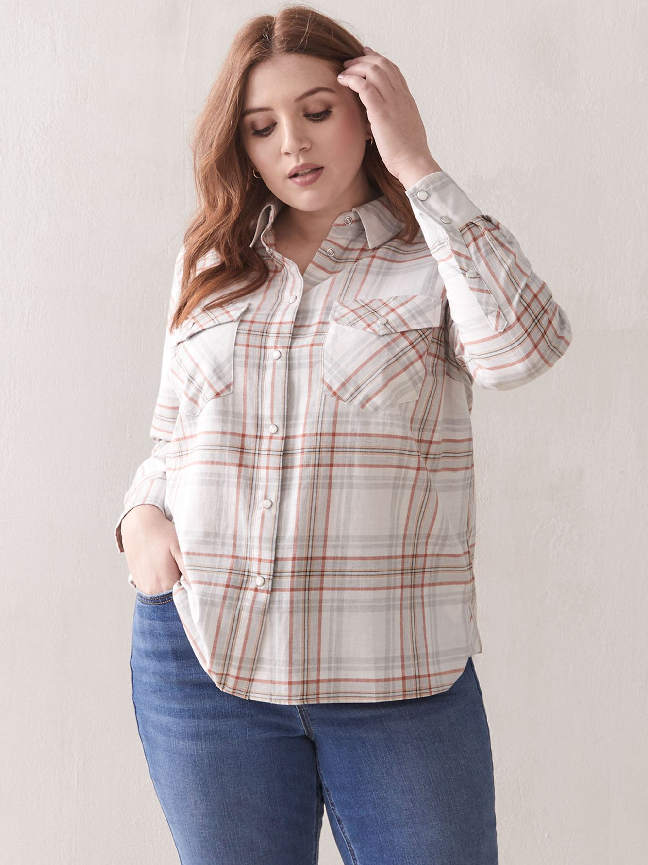 Yarn-Dye Plaid Cotton Shirt - Addition Elle