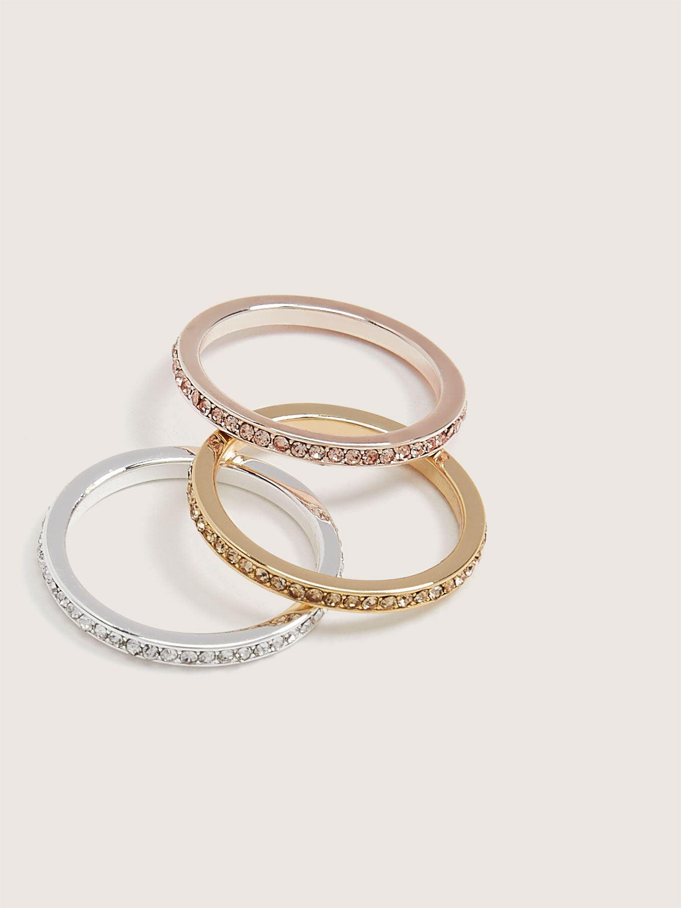 Rhinestone Rings, 3-Pack - Addition Elle