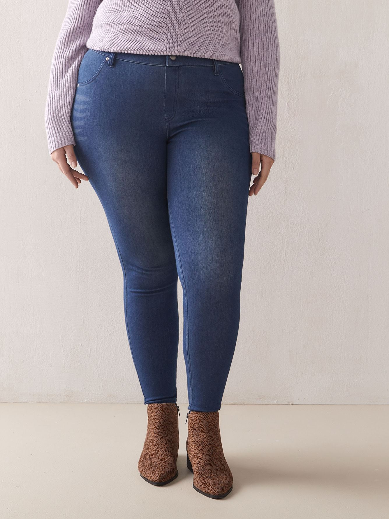 High Waist Denim Leggings - Hue
