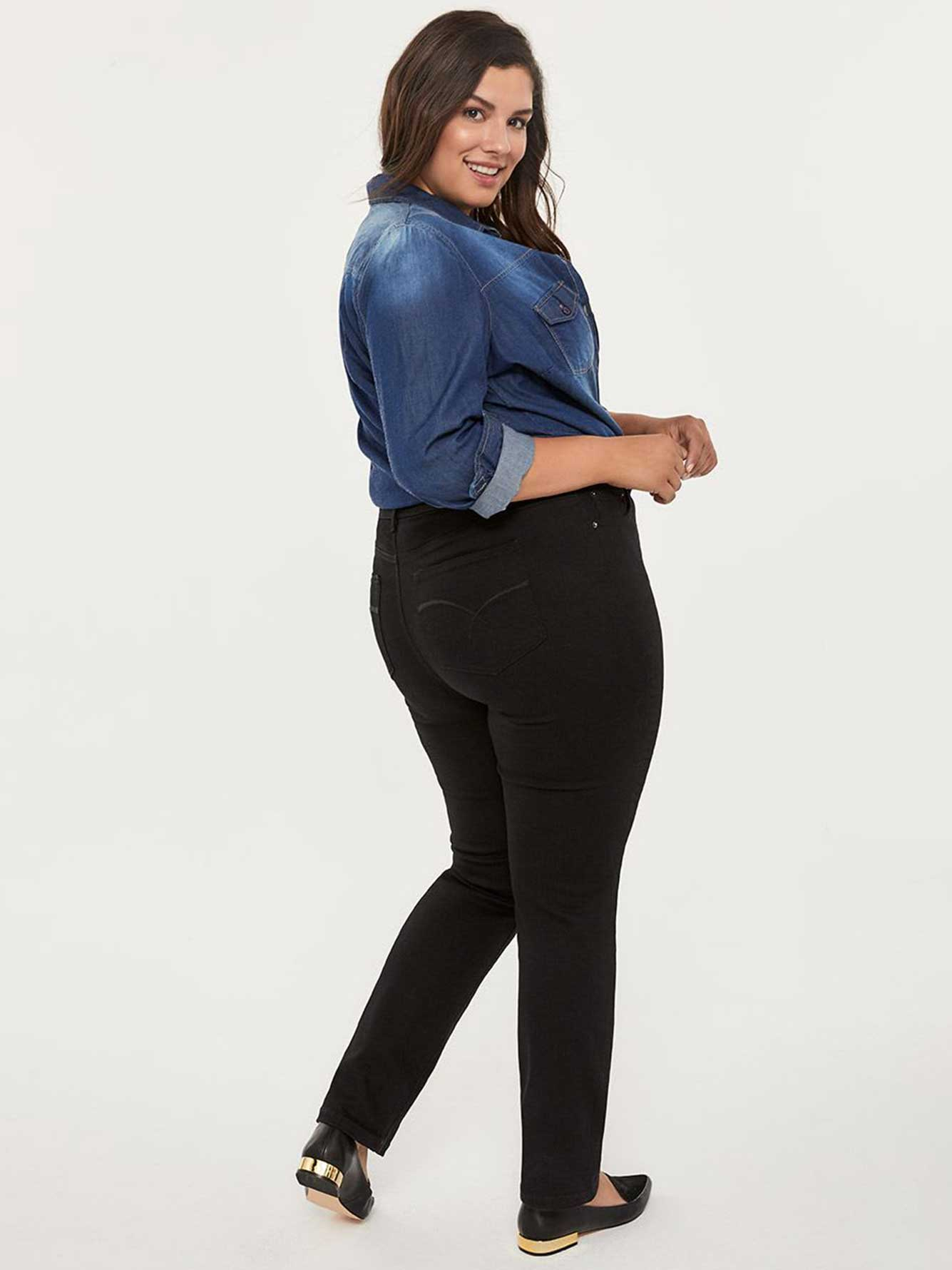 Petite Slightly Curvy Fit Straight Leg Black Jean - d/C JEANS